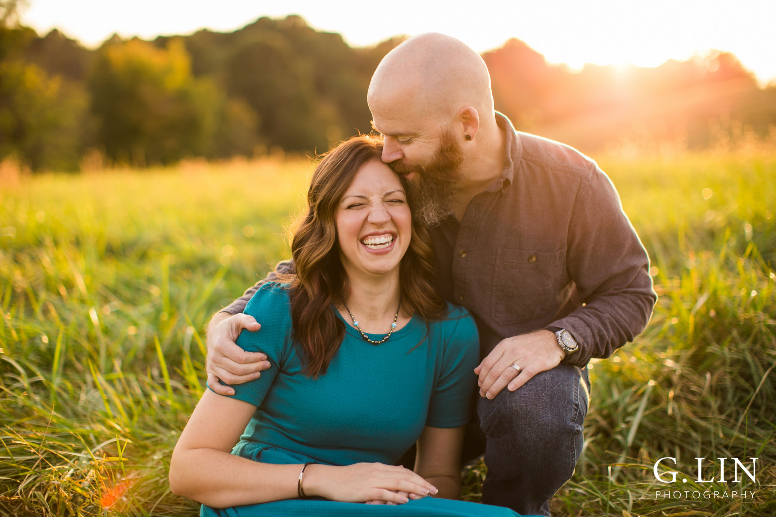 Raleigh Family Photographer | G. Lin Photography | Husband kissing wife's head