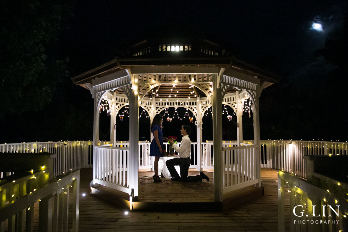 Proposal at gazebo at night | Durham Engagement Photographer | By G. Lin Photography