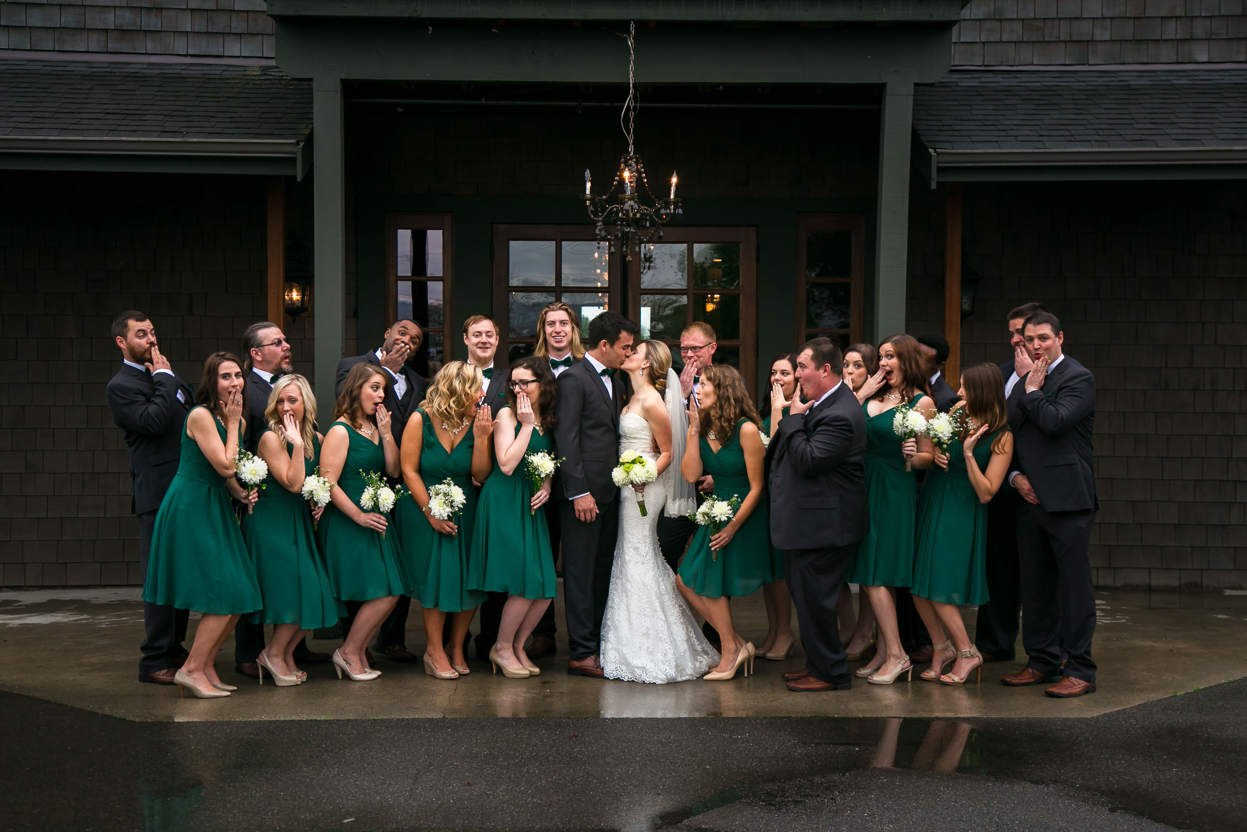 Fall Wedding of bridal party wearing green | Durham Wedding Photographer | By G. Lin Photography