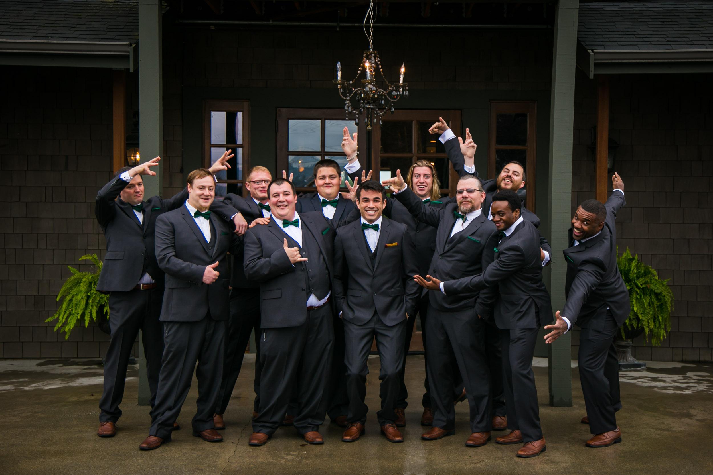 Groomsmen portrait, fall wedding | Durham Wedding Photographer | By G. Lin Photography