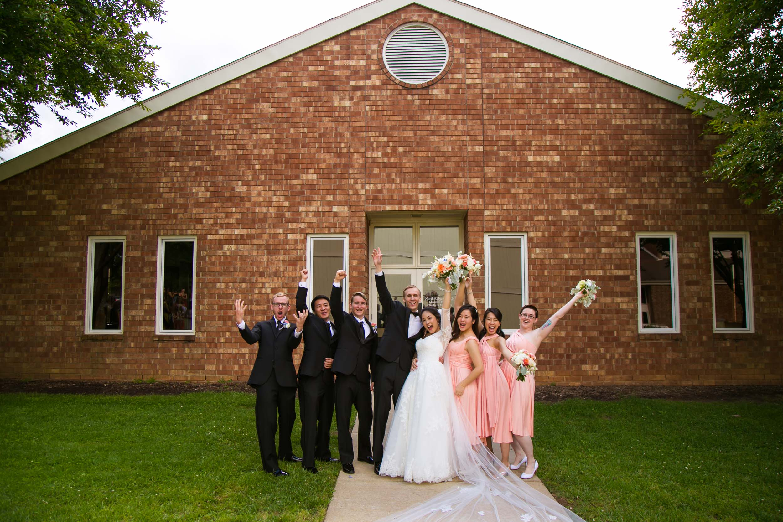 Wedding Party Portrait at Campbell Lodge | Raleigh Wedding Photographer | By G. Lin Photography