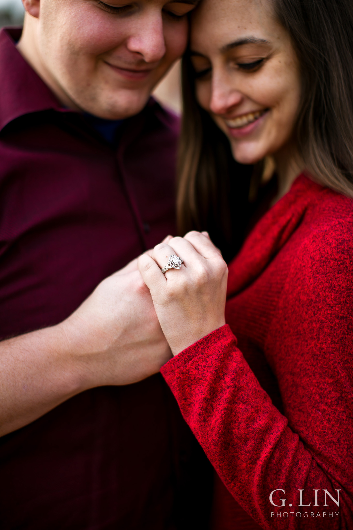 Creative ring shot of engagement | Raleigh Engagement Photographer | By G. Lin Photography