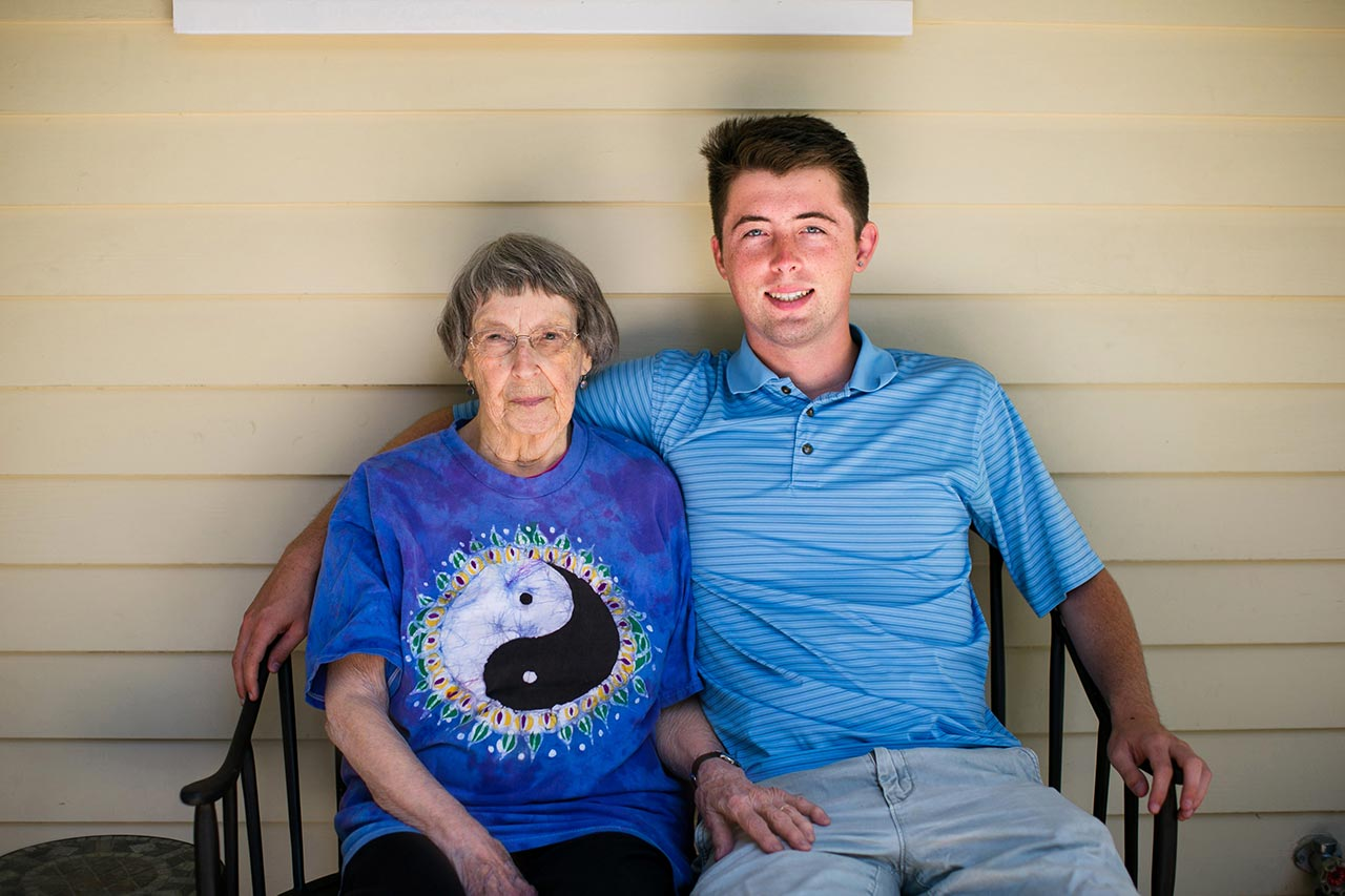 Portrait of Grandson and Grandma | Graduation Portraits for UNC Student | By G. Lin Photography | Durham Graduation Photographer