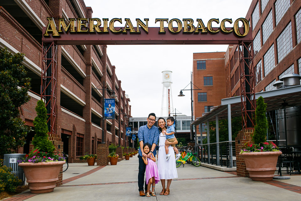 Family portrait at American Tobacco Campus | Durham Photographer | By G. Lin Photography