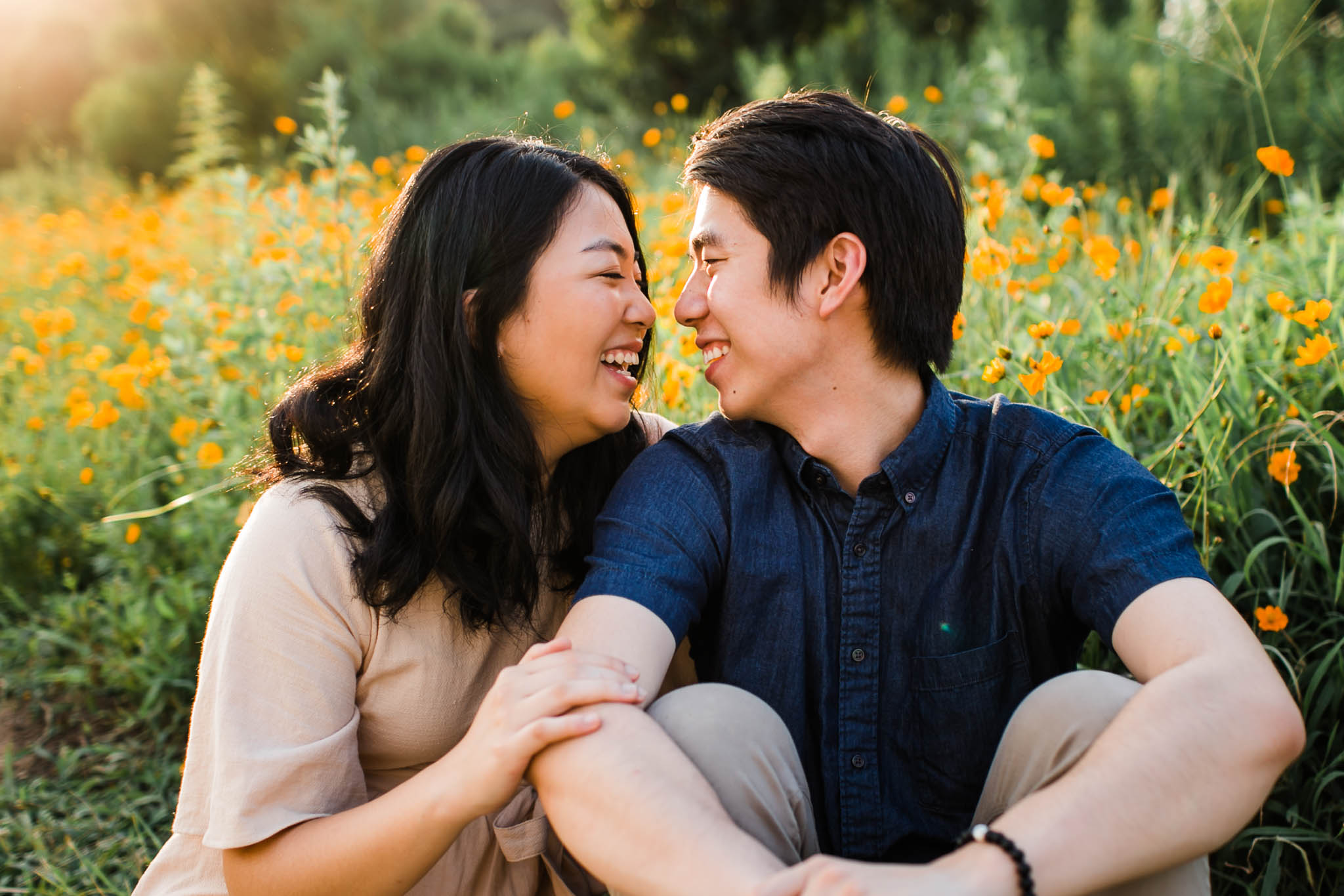Raleigh Engagement Photographer | By G. Lin Photography | golden hour portrait of couple at Dorothea Dix Park