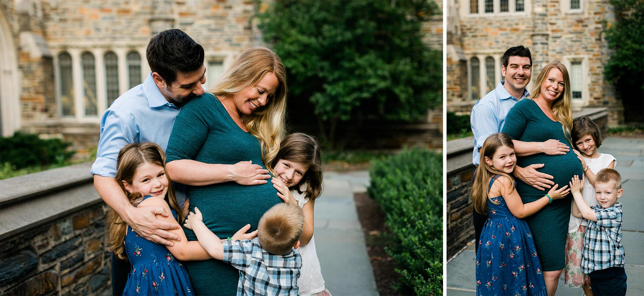 Family Group Hug at Duke University | Durham Maternity Photographer | By G. Lin Photography