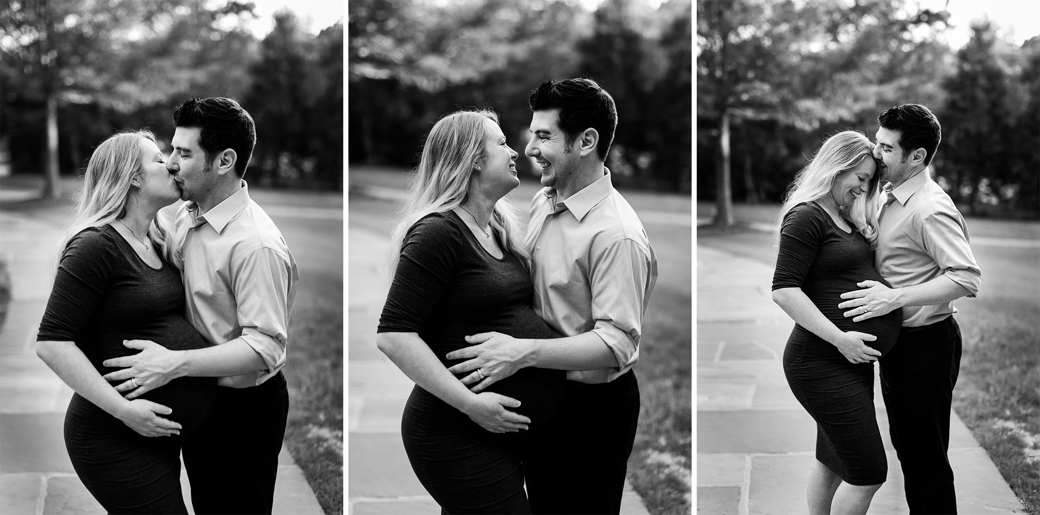 Black and white photo of couple | Durham Maternity Photographer | By G. Lin Photography