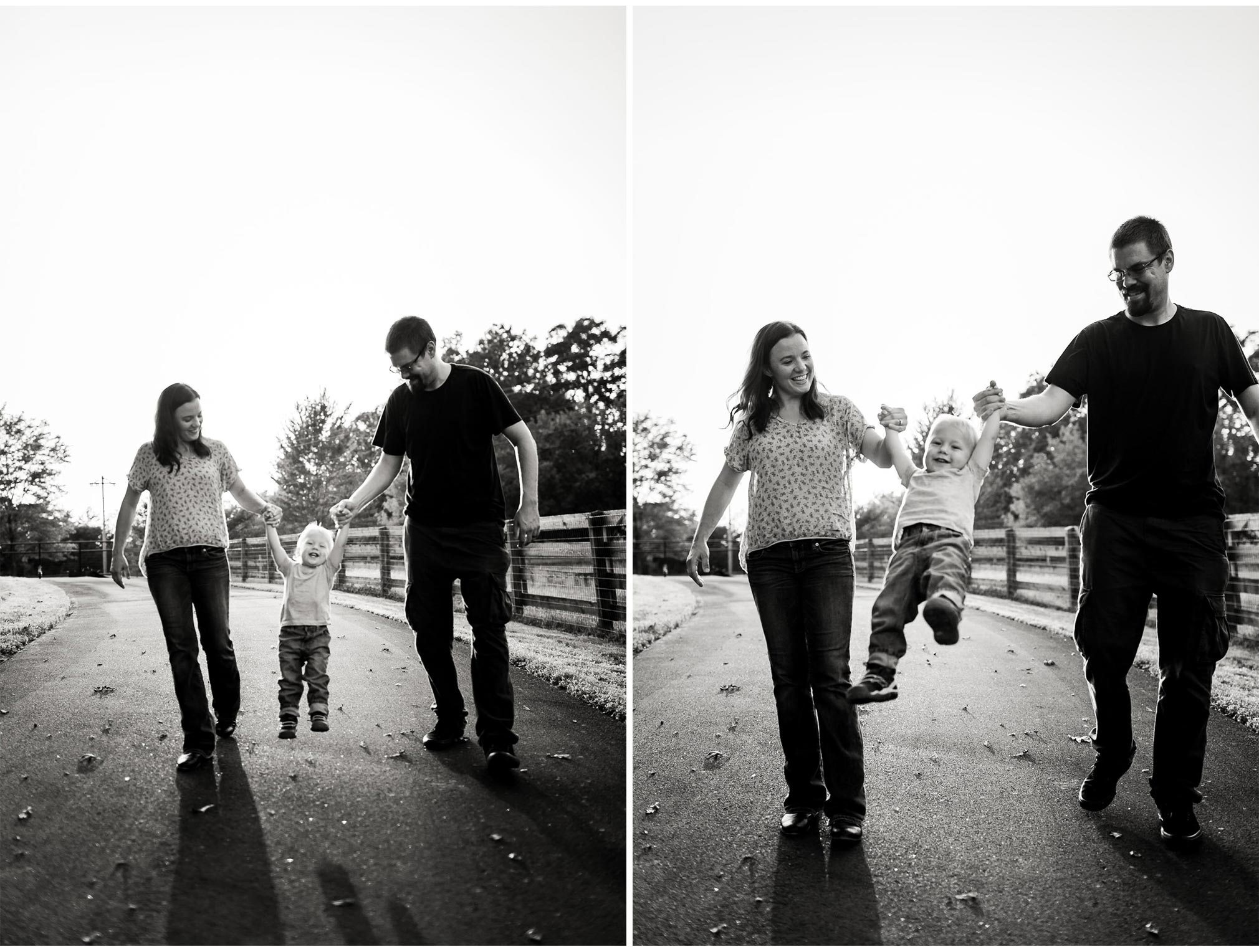 Family swinging son in arms | By G. Lin Photography | Durham Family Photographer