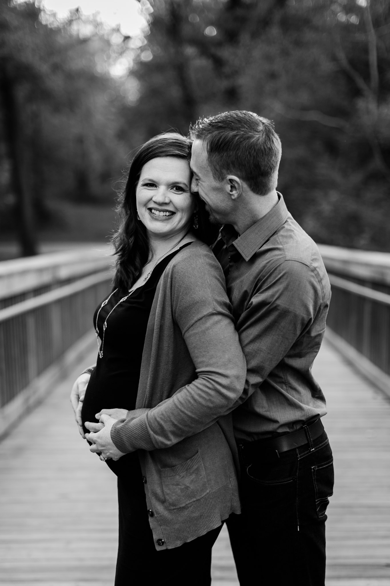 Black and white maternity portrait at Hillsborough Riverwalk | Hillsborough Maternity Photographer | By G. Lin Photography