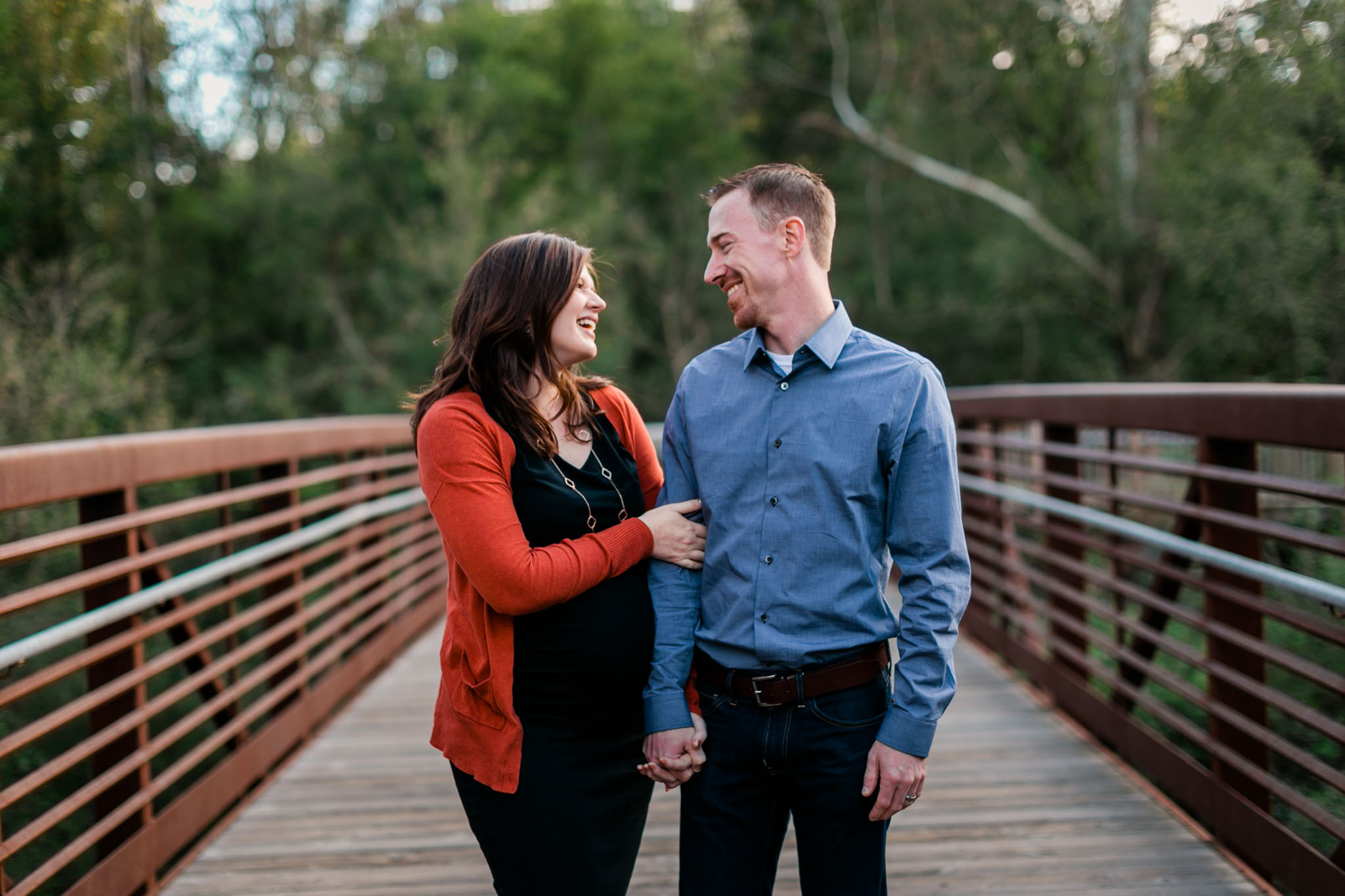 Beautiful photo of couple on bridge at Hillsborough Riverwalk | Durham Family Photographer | By G. Lin Photography