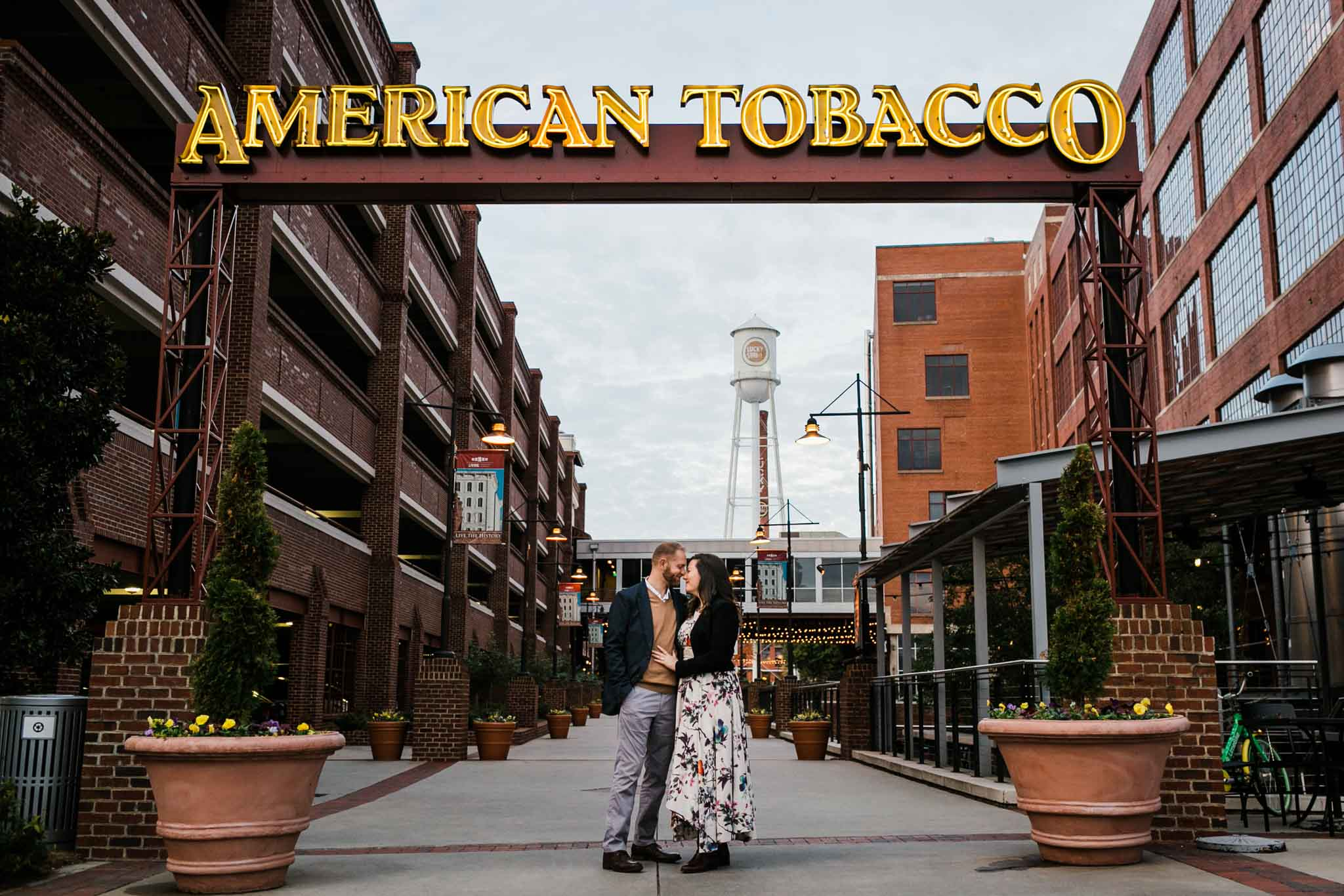American Tobacco Campus Photo of Couple | Durham Photographer | By G. Lin Photography