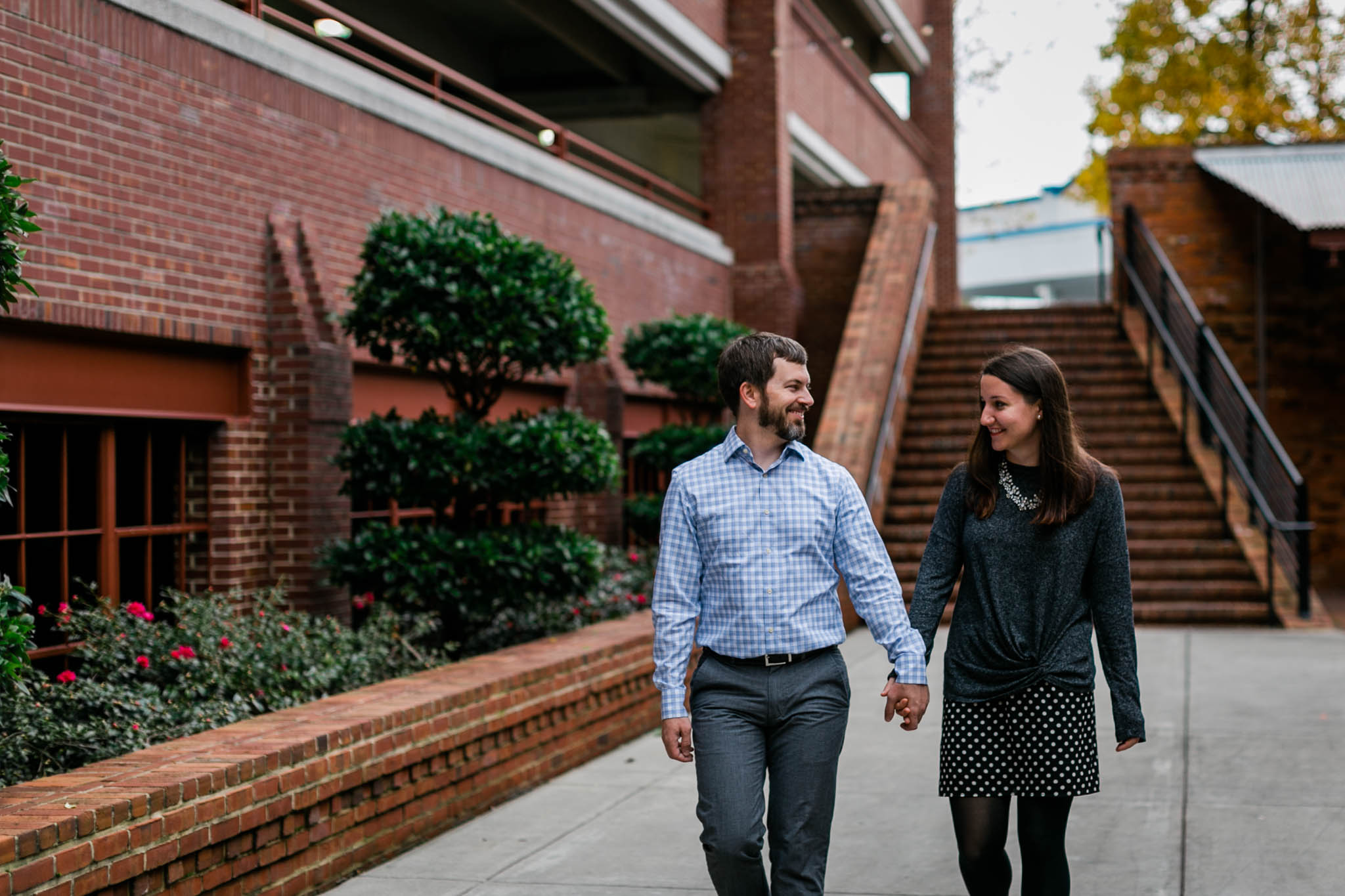 Couple walking in Downtown Durham | Durham Family Photographer | By G. Lin Photography