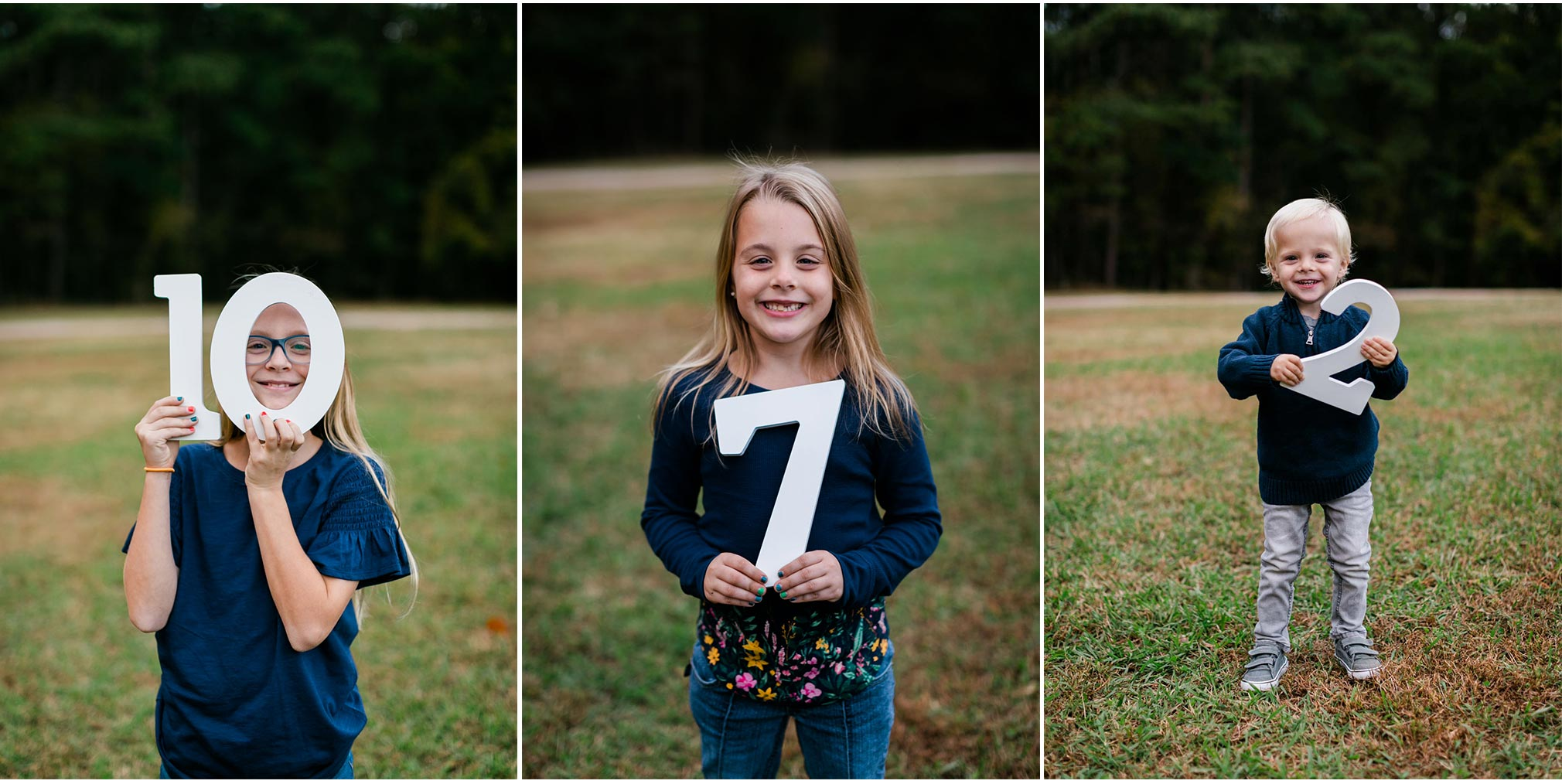 Cute photo of siblings holding up their ages | Raleigh Family Photography | By G. Lin Photography