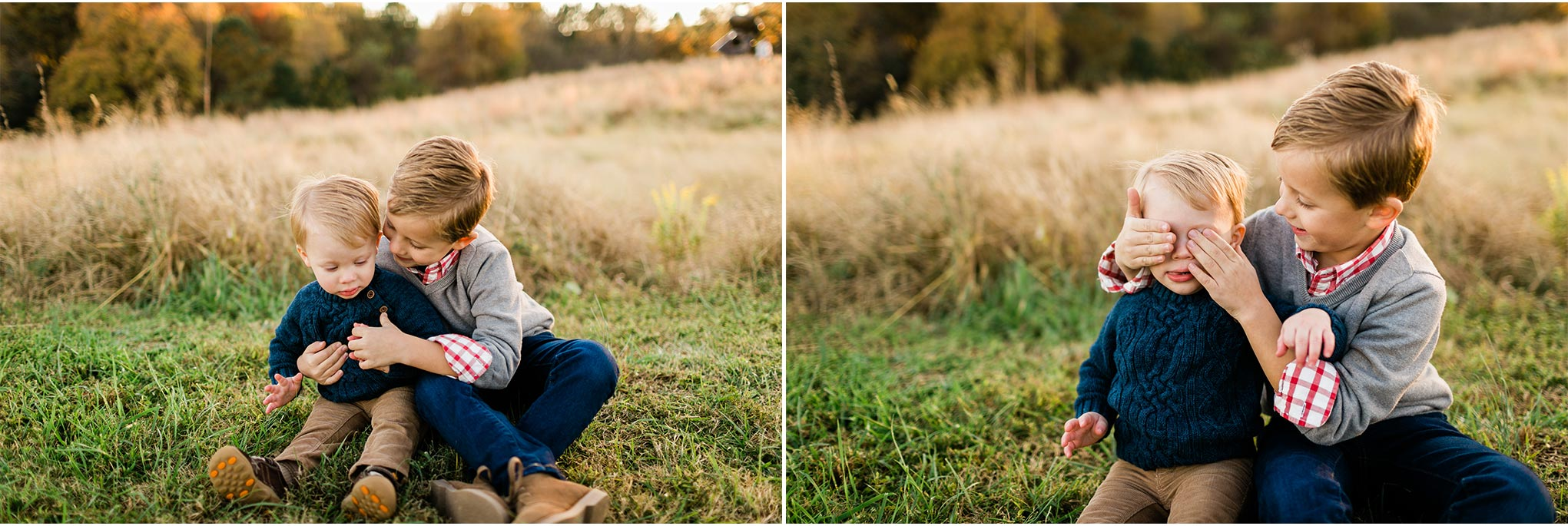Outdoor sibling photo at NCMA | Raleigh Family Photographer | By G. Lin Photography