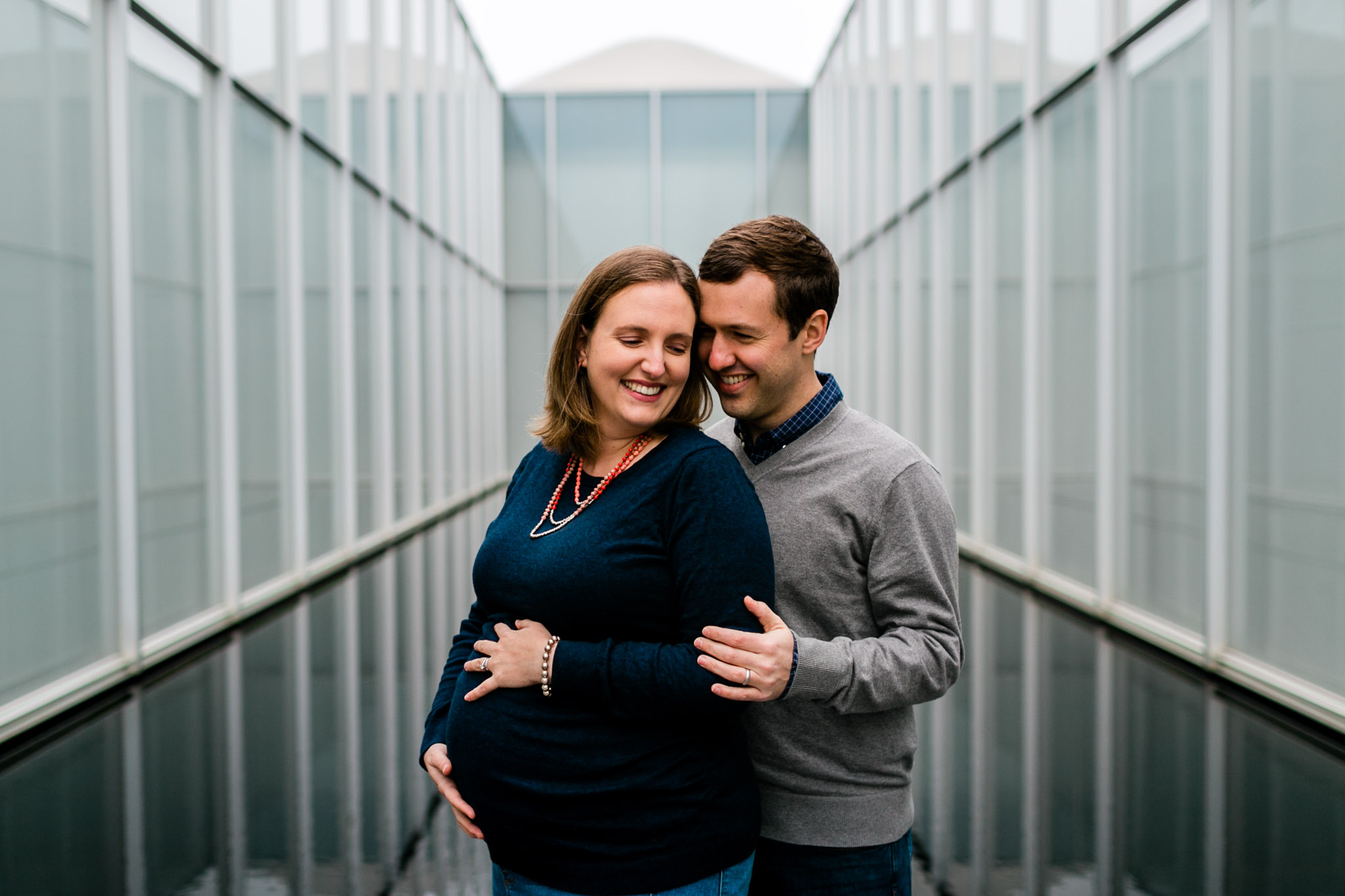 Candid maternity portrait outside of NC Museum of Art | Raleigh Newborn Photographer | By G. Lin Photography