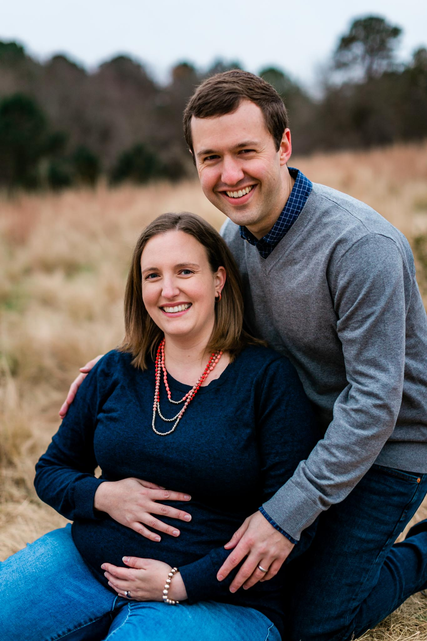 Outdoor maternity portrait in open field at NCMA | Raleigh Maternity Photographer | By G. Lin Photography