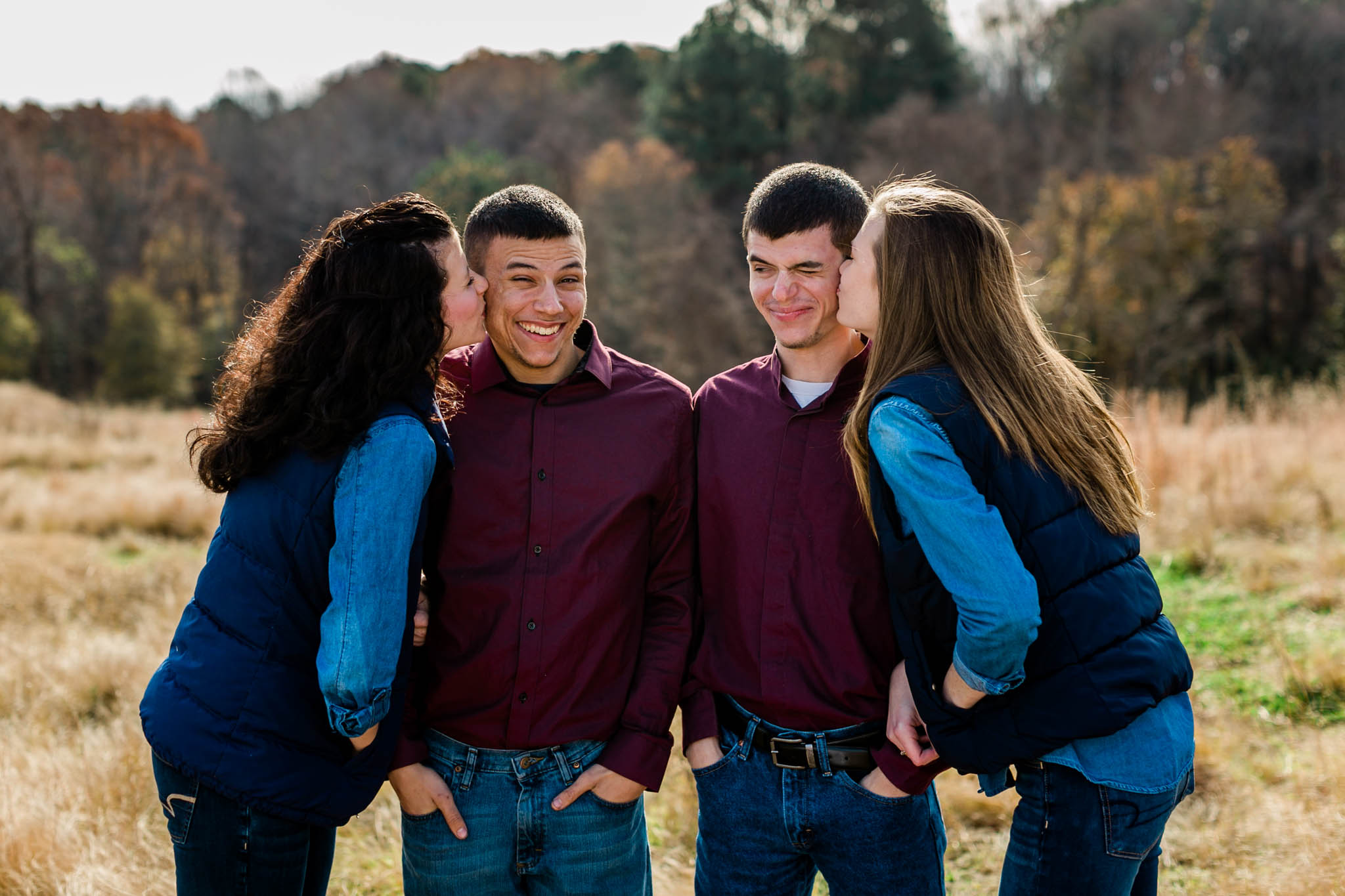 Funny photo of sisters and brothers | Raleigh Family Photographer | By G. Lin Photography