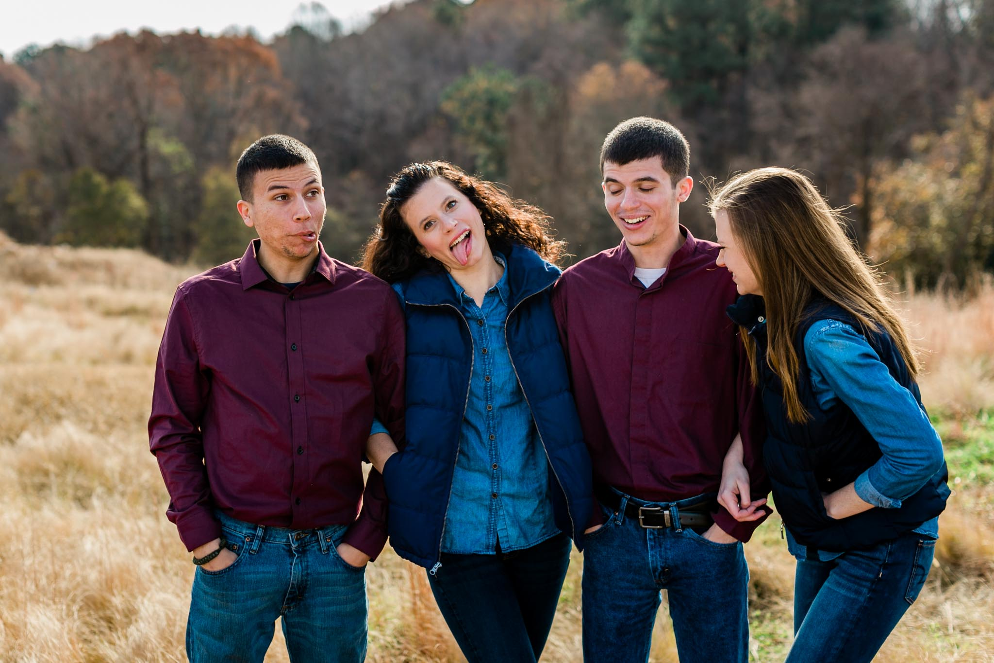 Silly faces during sibling portrait session at NCMA | Raleigh Family Photographer | By G. Lin Photography