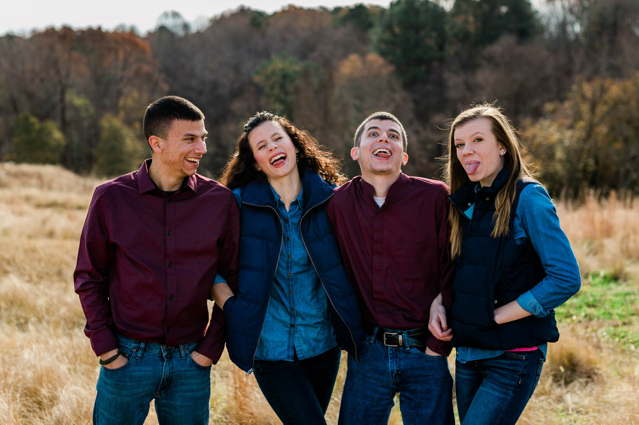 Funny face photo of siblings at NCMA | Raleigh Family Photographer | By G. Lin Photography