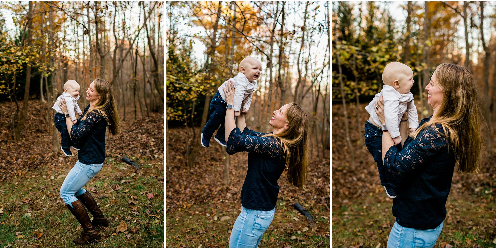 Mom laughing and playing with baby boy | By G. Lin Photography | Durham Family Photography