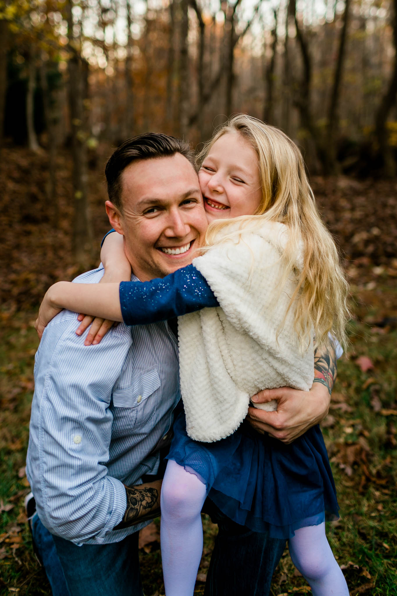 Candid fall photo of father and daughter   Durham Family Photographer   By G. Lin Photography