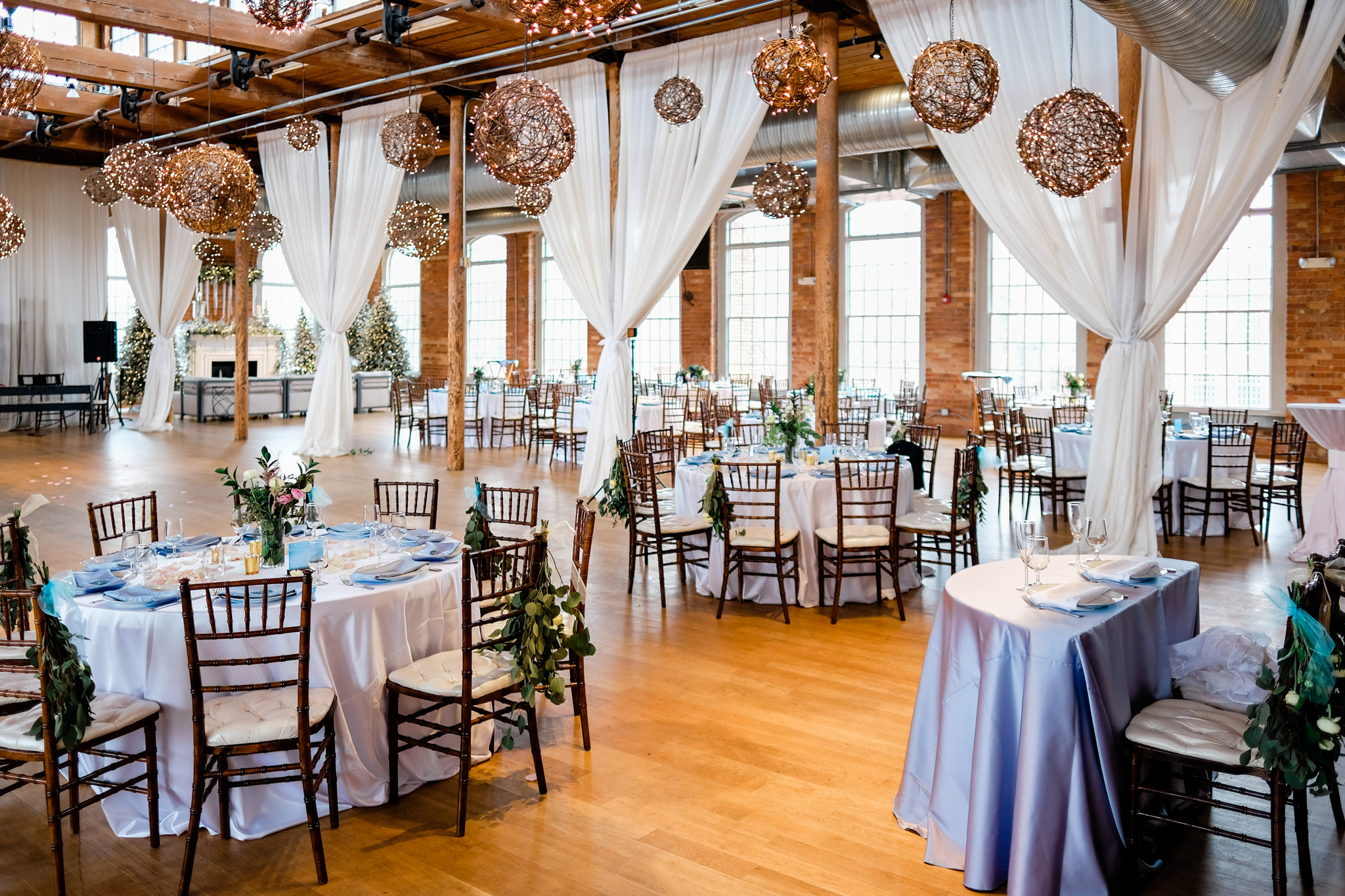 Details of wedding reception, blue color scheme, winter wedding | Durham Wedding Photographer | The Cotton Room | By G. Lin Photography