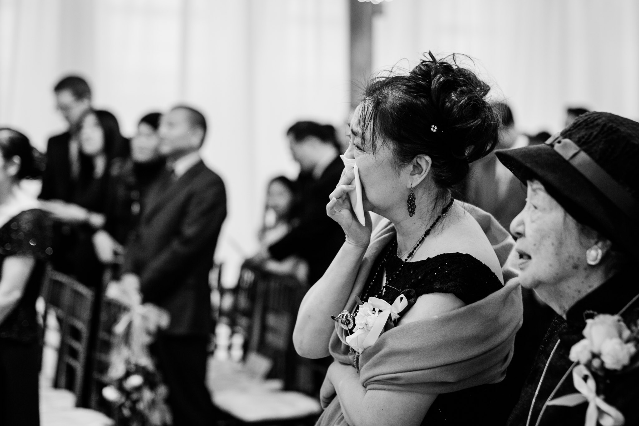 Mother of the bride crying during ceremony | Durham Wedding Photographer | The Cotton Room Wedding | By G. Lin Photography