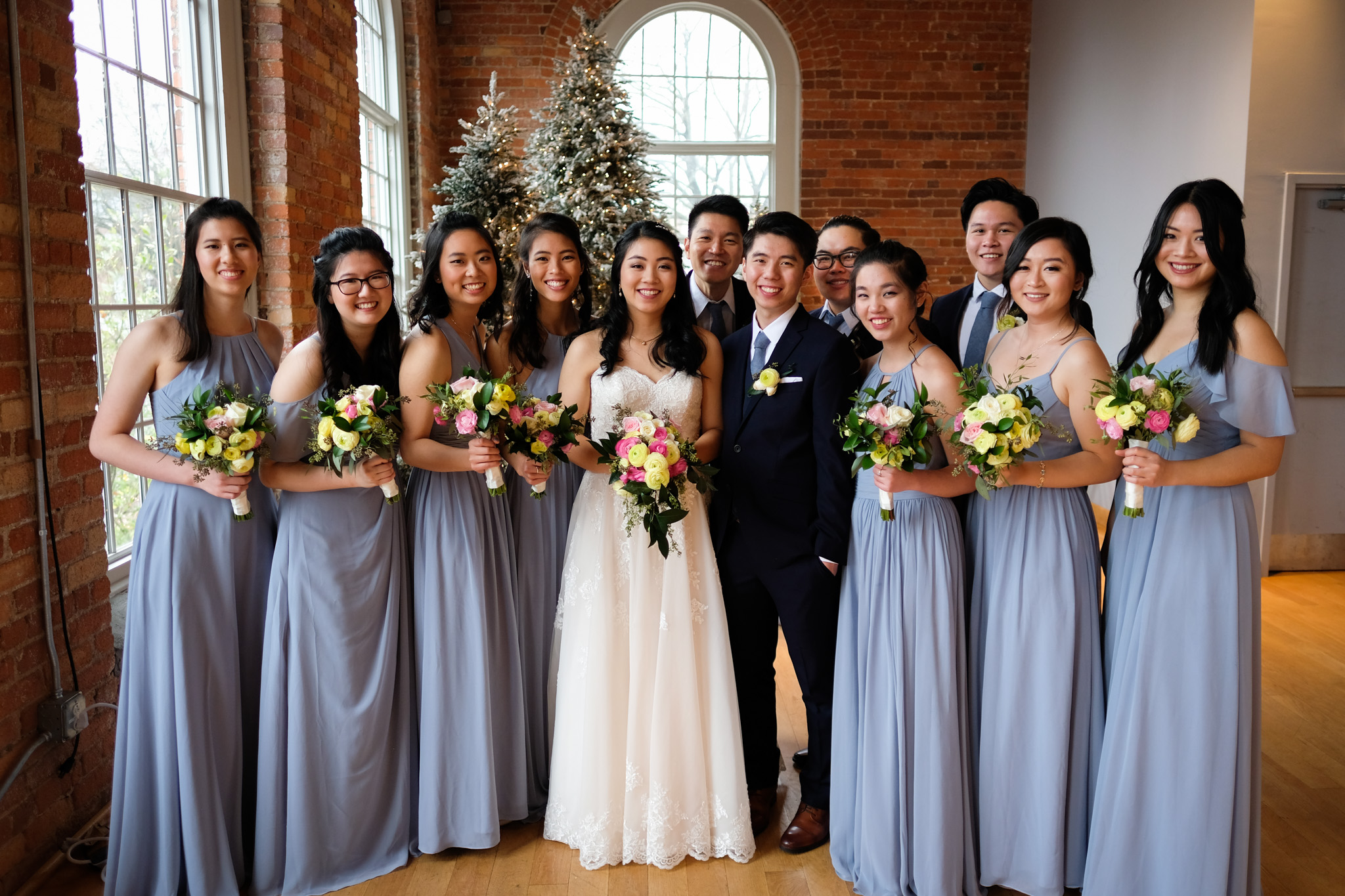 Light blue wedding colors, bridal party at The Cotton Room | Durham Wedding Photographer | By G. Lin Photography