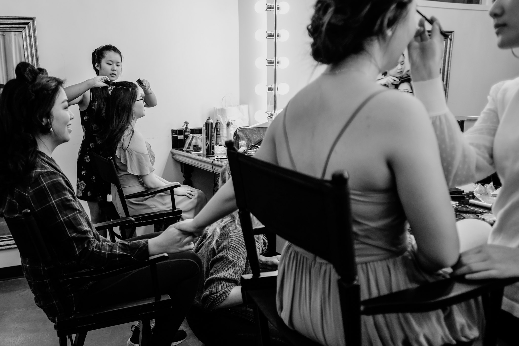 Bridesmaid and Bride getting ready | Durham Wedding Photographer | The Cotton Room | By G. Lin Photography