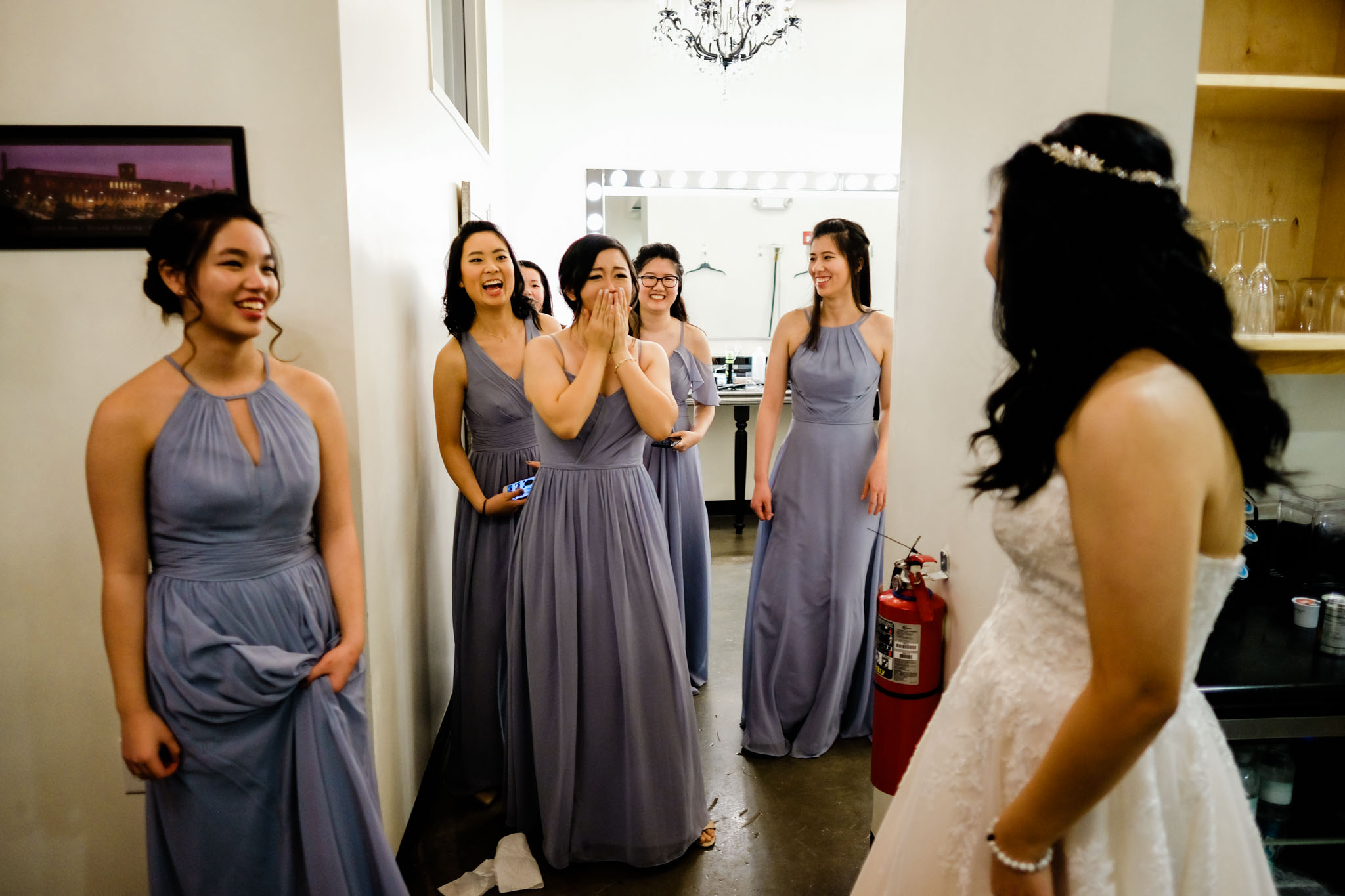 Bridesmaids seeing Bride in wedding dress | The Cotton Room Wedding Photography | Durham NC | By G. Lin Photography