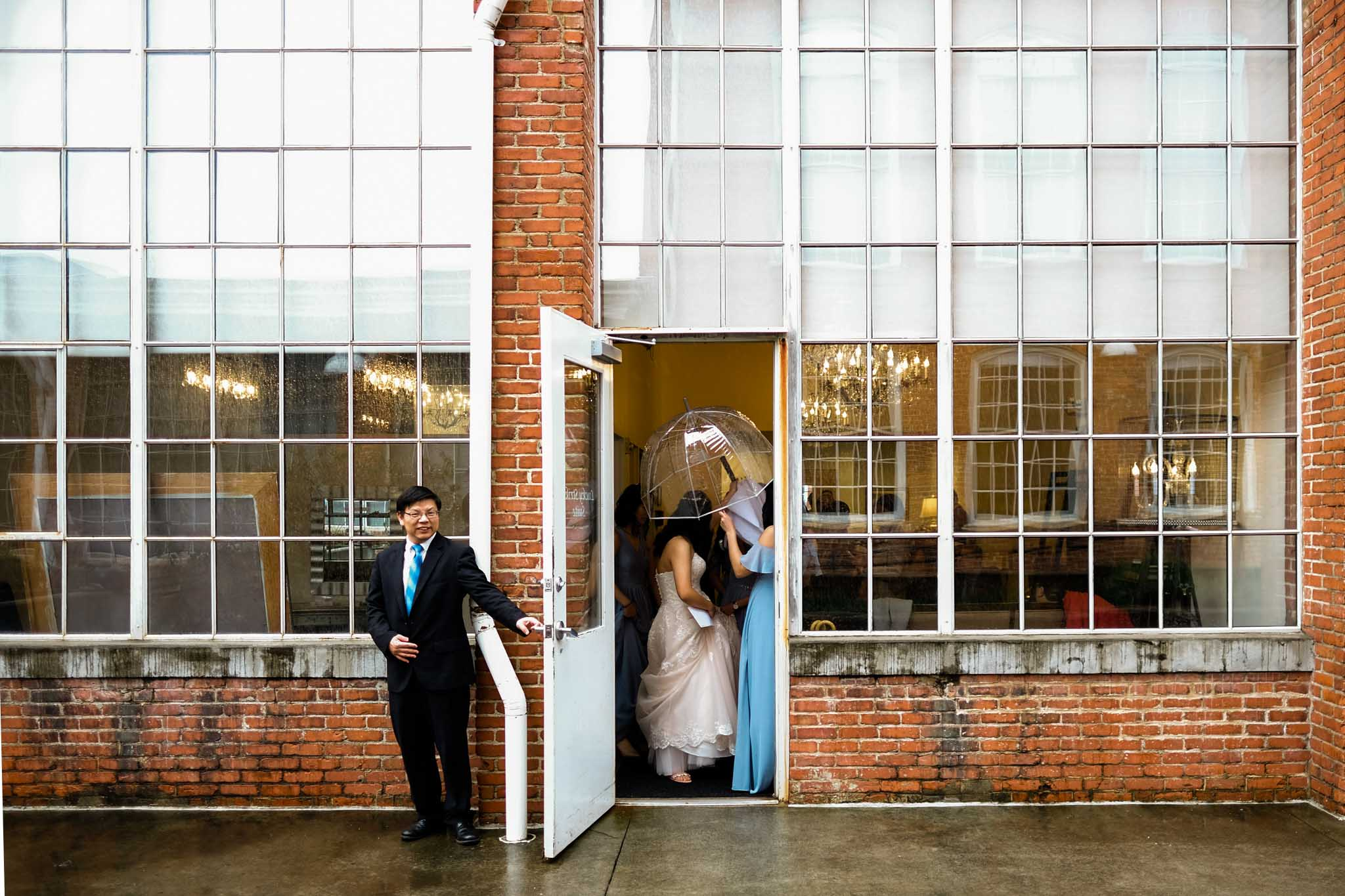 Bridesmaids and bride leaving bridal suite | The Cotton Room | Durham Wedding Photographer | By G. Lin Photography