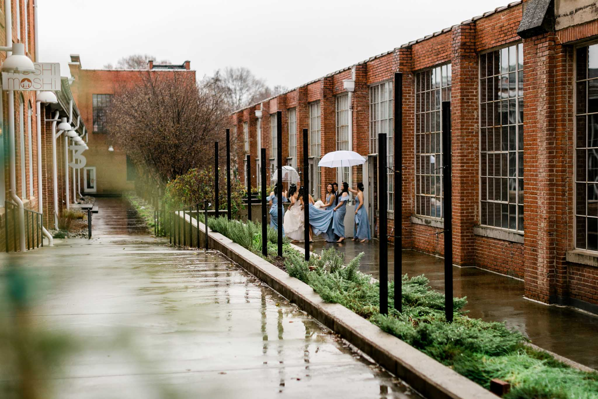 Bridesmaids and bride walking in rain | The Cotton Room Wedding | Durham Photographer | By G. Lin Photography