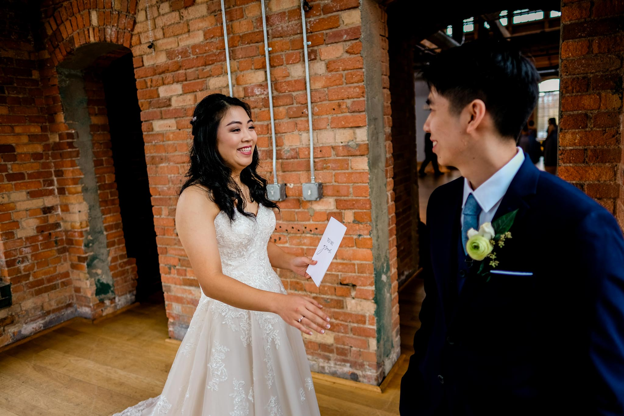 Bride and groom seeing each other for first time | Durham Wedding Photographer | The Cotton Room | By G. Lin Photography