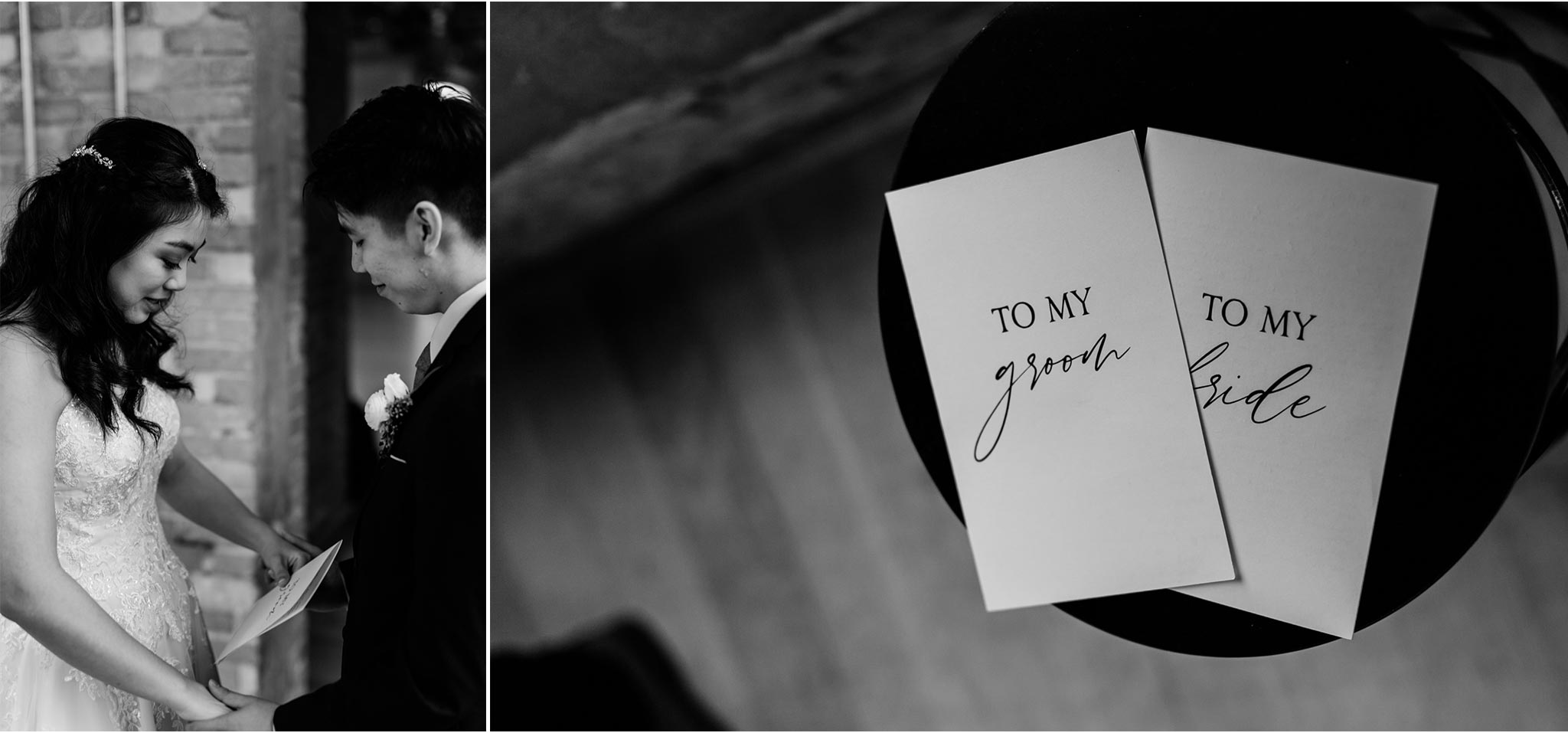 Bride and groom reading letters to each other | Durham Wedding Photographer | The Cotton Room | By G. Lin Photography