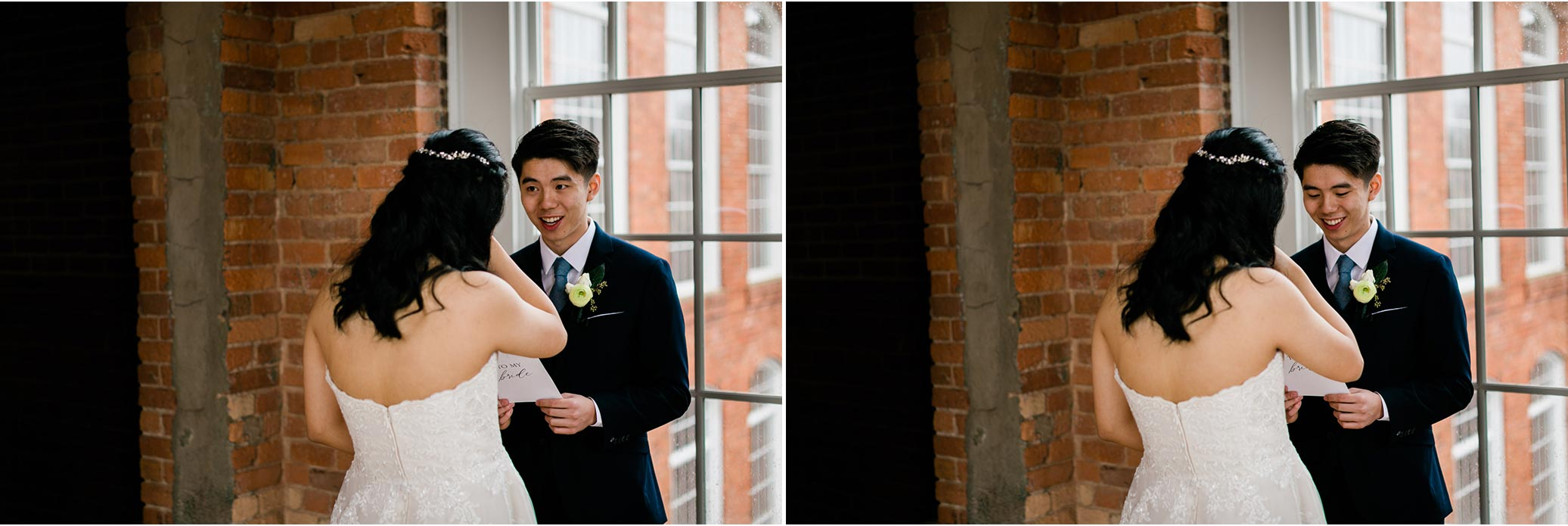 Groom reading letter to bride at The Cotton Room | Durham Wedding Photographer | By G. Lin Photography