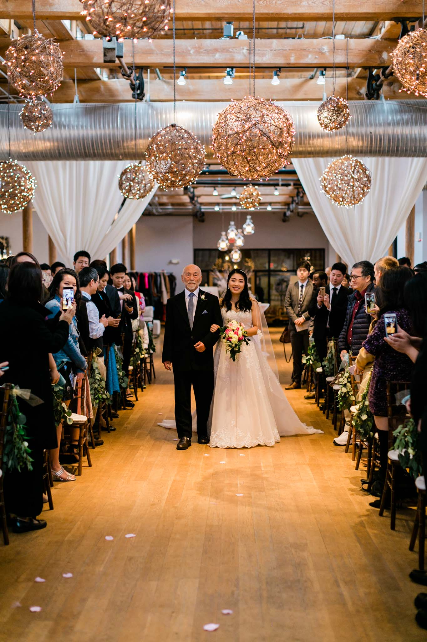 Bride walking down aisle at The Cotton Room | Durham Wedding Photographer | By G. Lin Photography