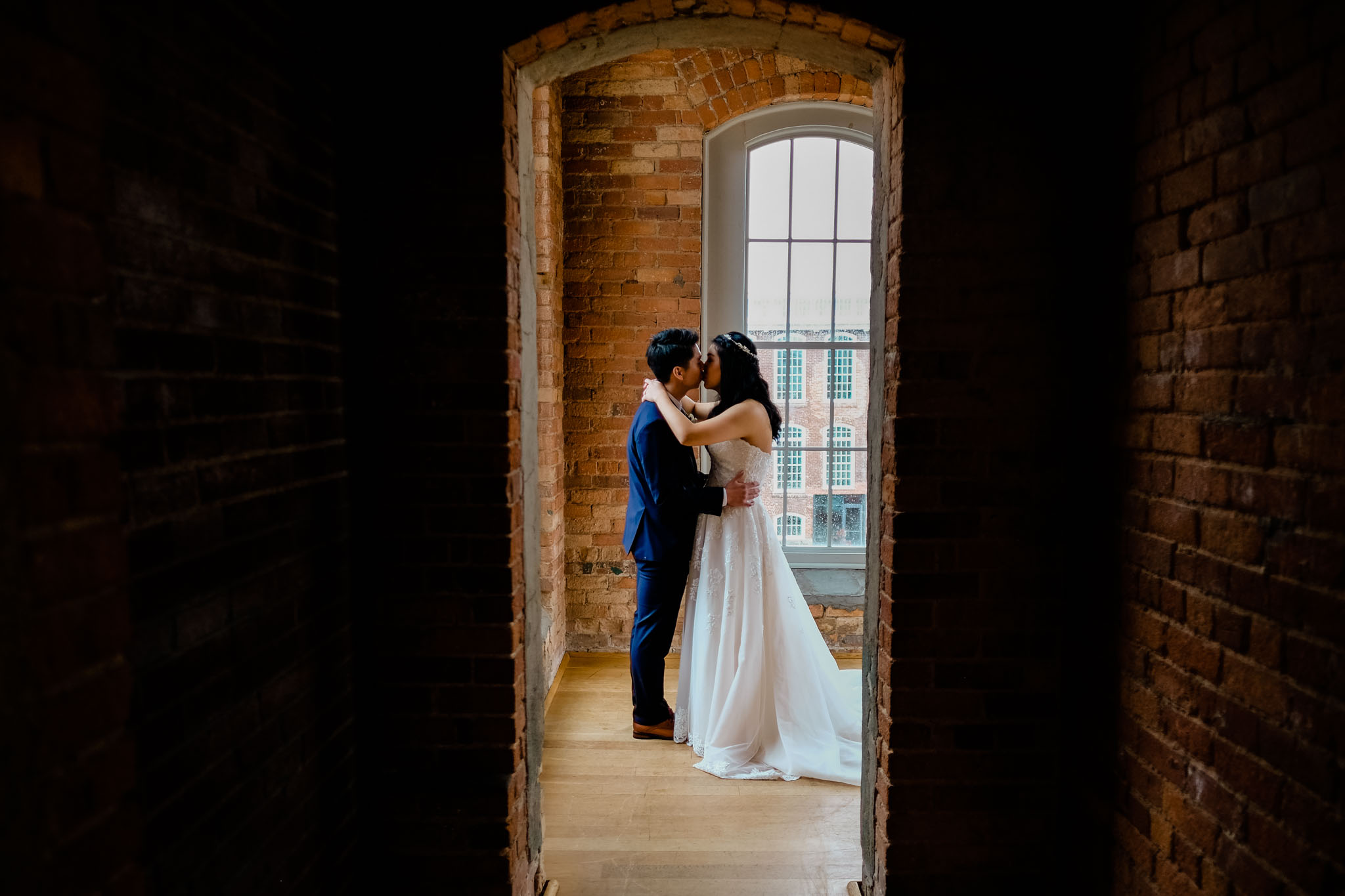 Gorgeous romantic portrait of bride and groom at The Cotton Room | Durham Wedding Photographer | By G. Lin Photography