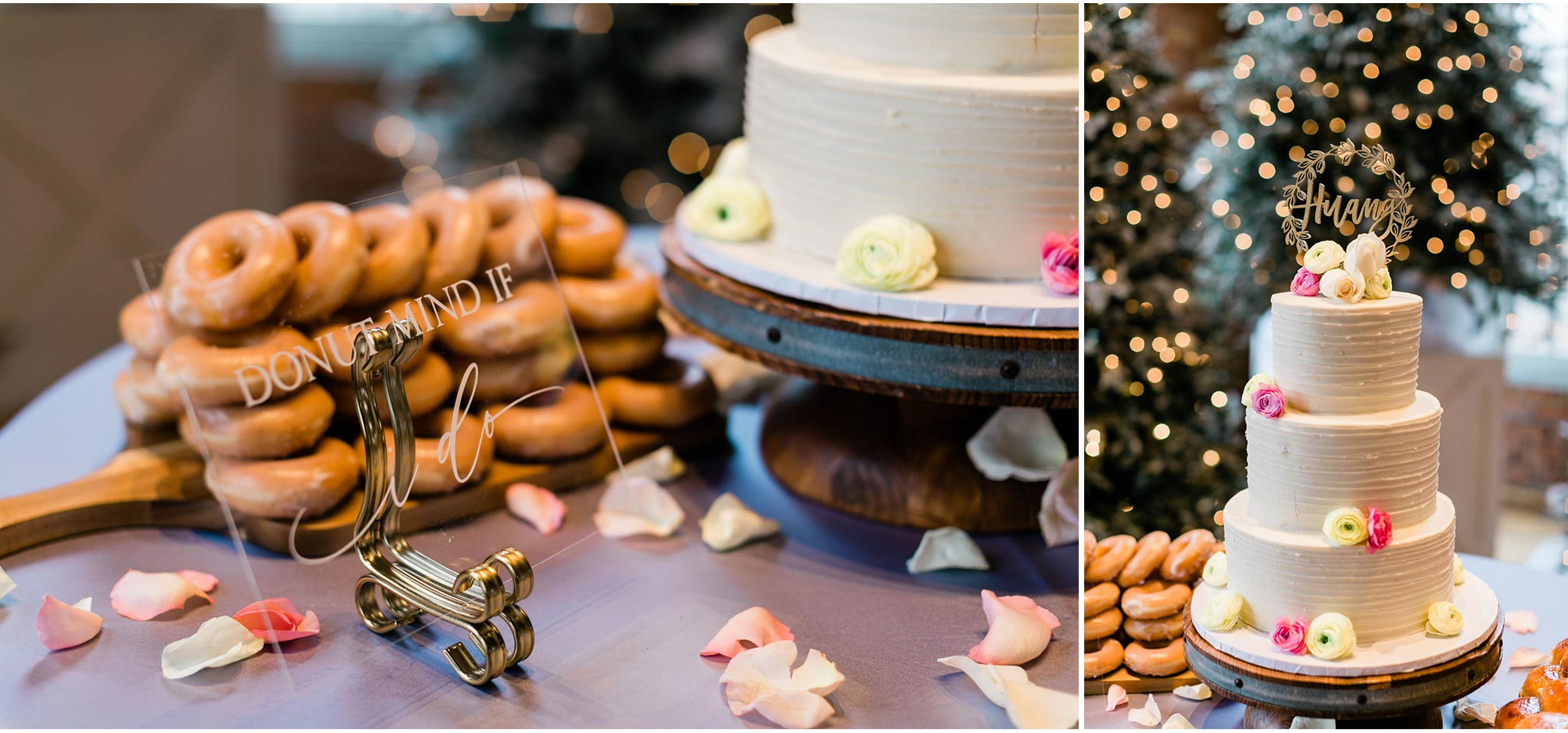 Wedding cake and donuts | Durham Wedding Photographer | The Cotton Room | By G. Lin Photography