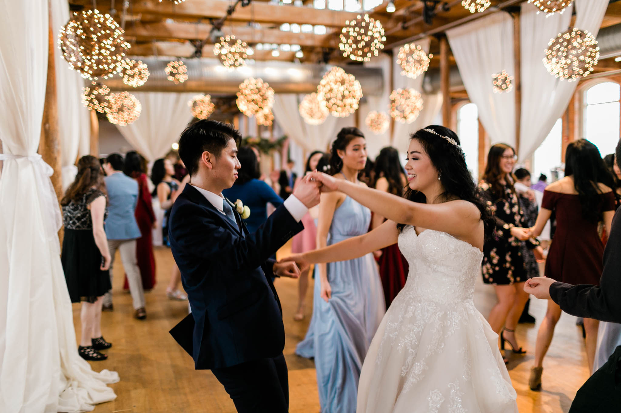Bride and groom dancing during reception | The Cotton Room | Durham Wedding Photographer | By G. Lin Photography