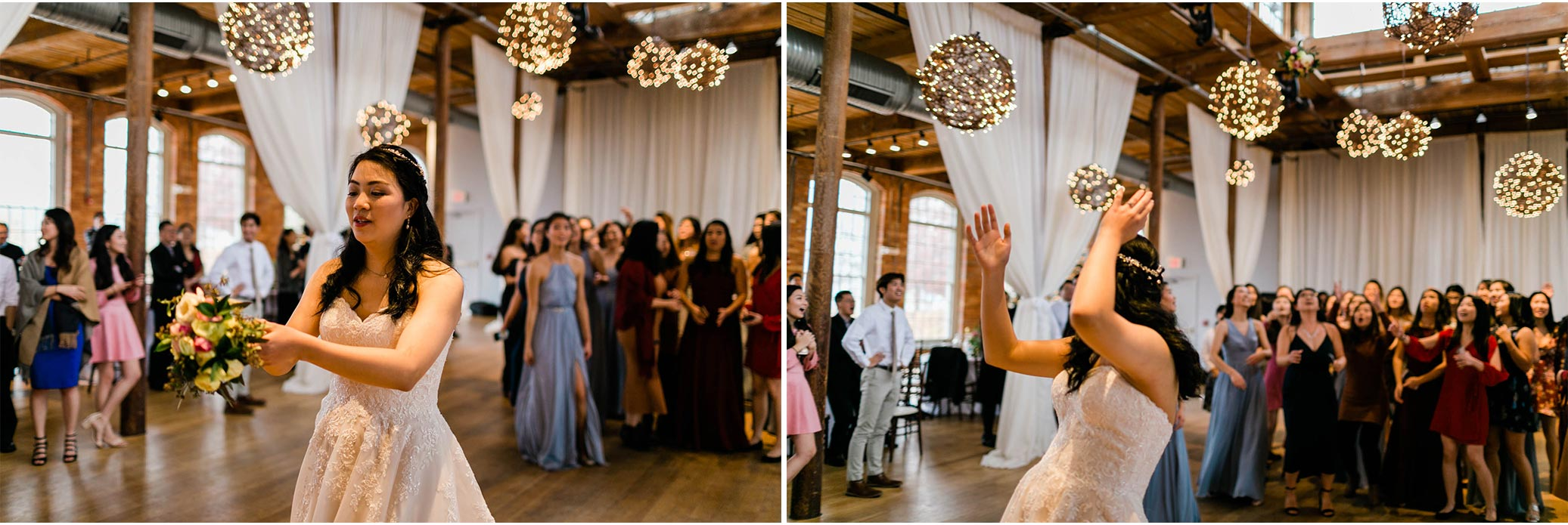 Bouquet toss at The Cotton Room | Durham Event Photographer  | By G. Lin Photography