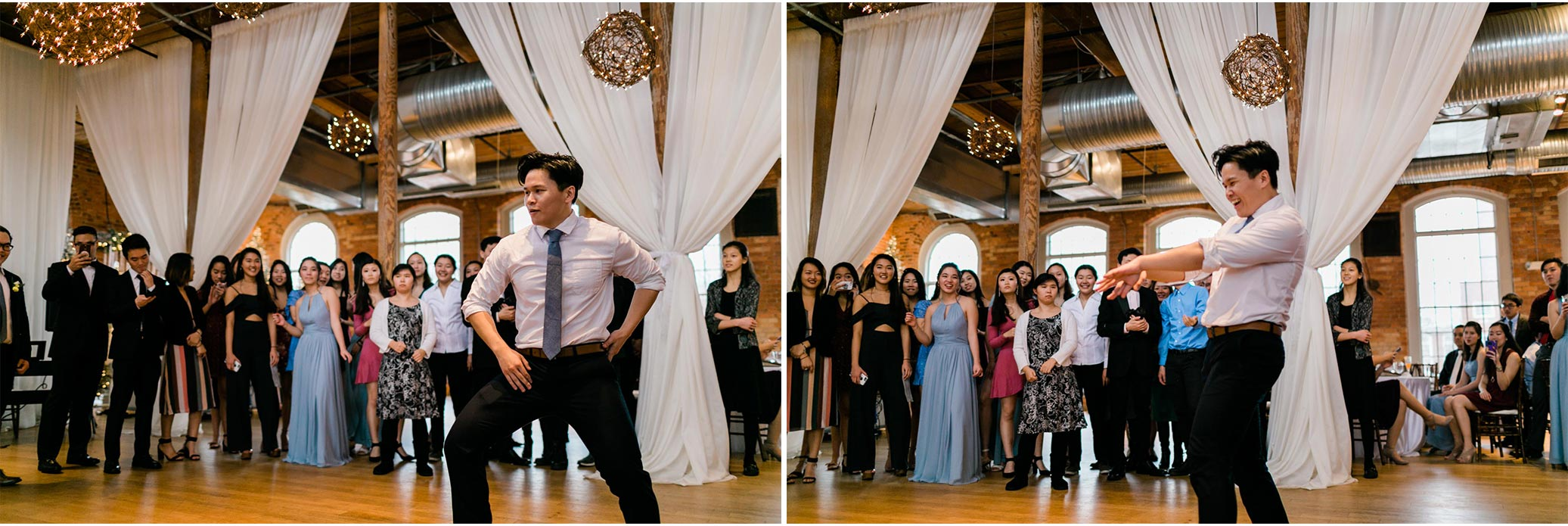 Man dancing during wedding reception | Durham Wedding Photographer | The Cotton Room | By G. Lin Photography