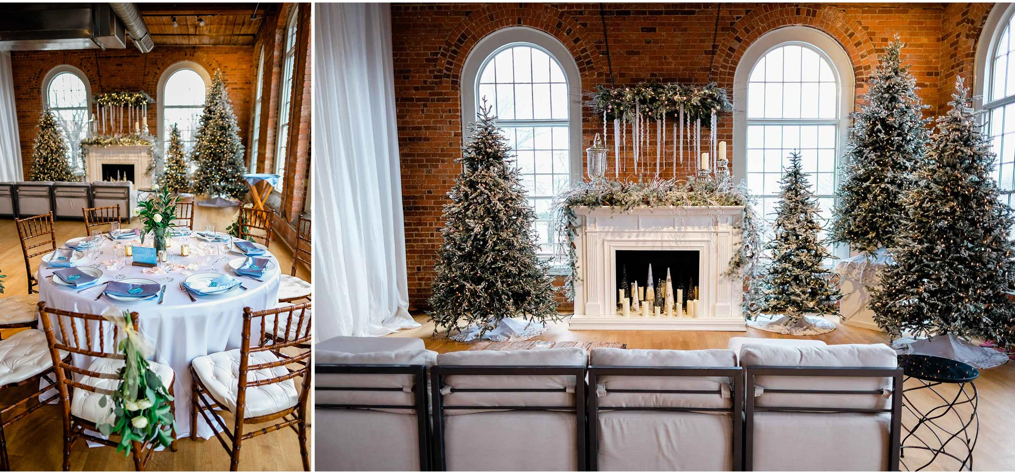 Winter wedding decor at The Cotton Room | Durham Wedding Photographer | By G. Lin Photography