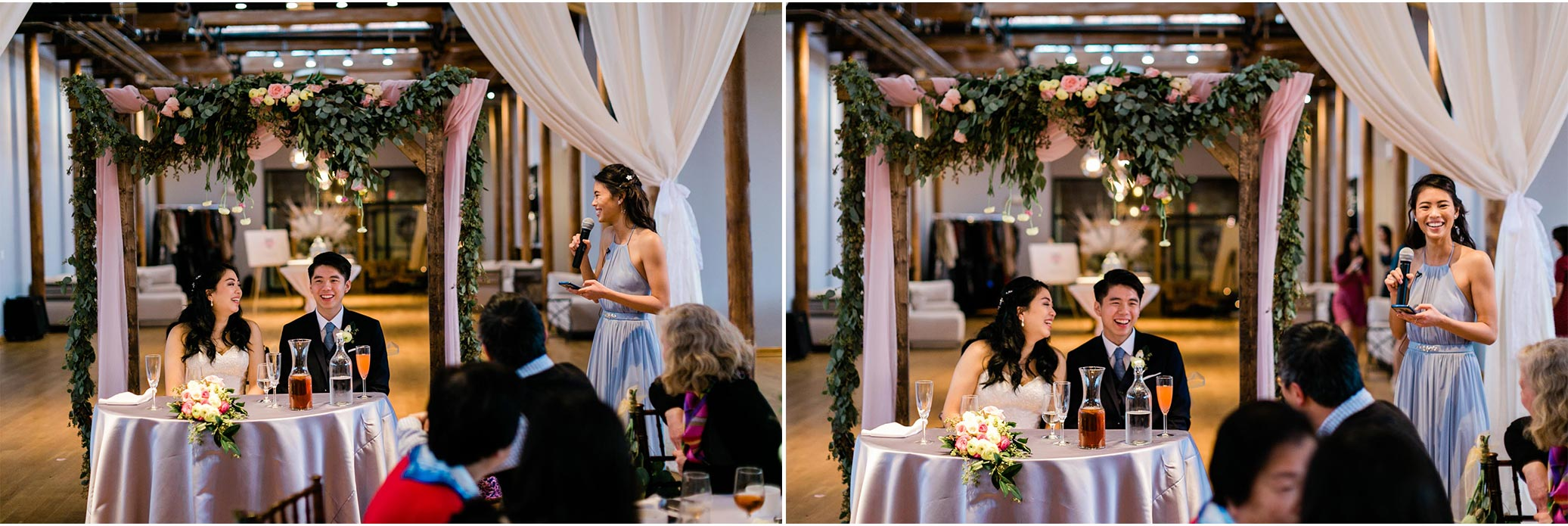 Maid of Honor giving speech during reception | The Cotton Room | Durham Wedding Photographer | By G. Lin Photography