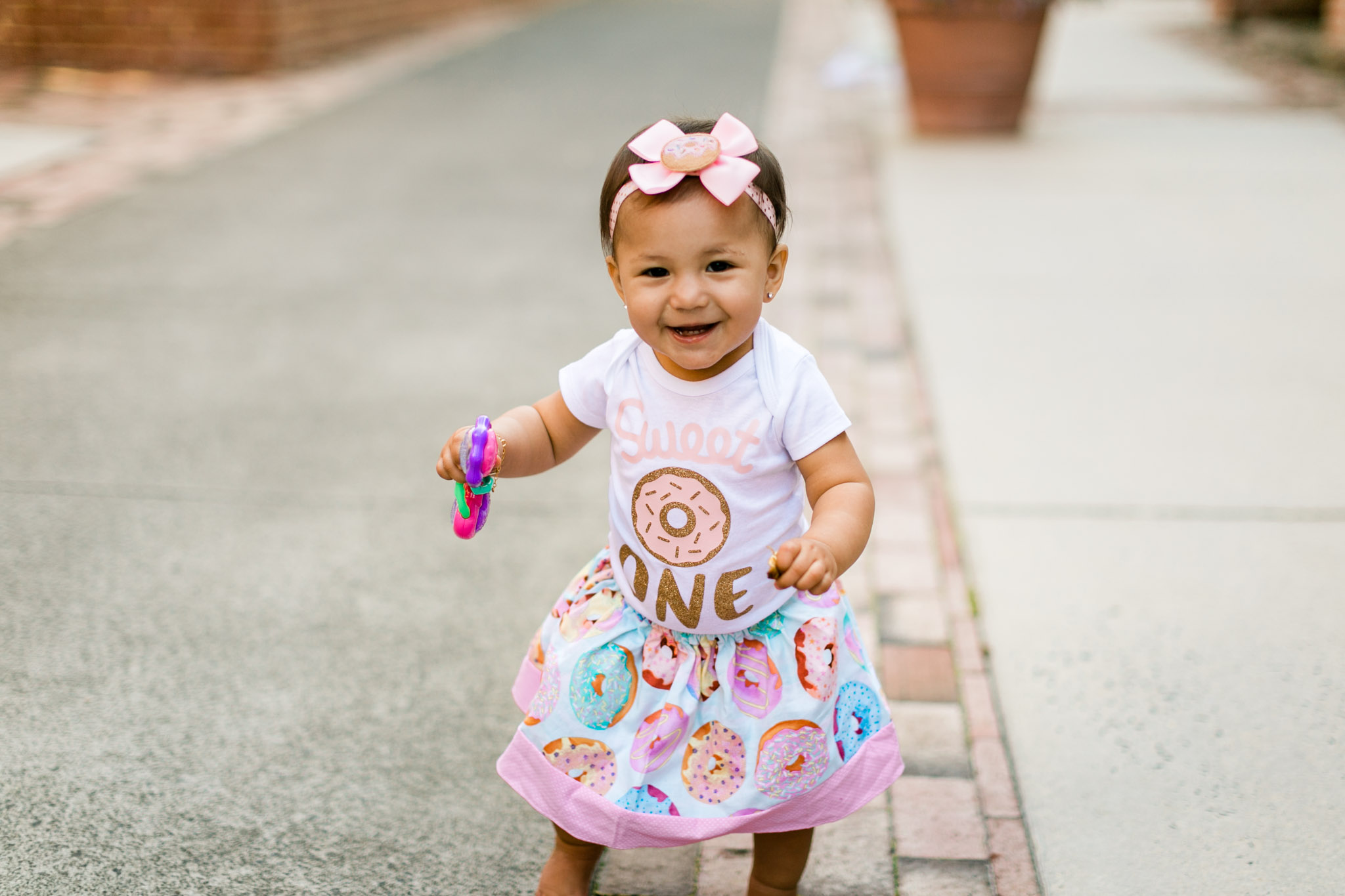 Cute baby girl walking by herself outside | Durham Photographer | By G. Lin Photography