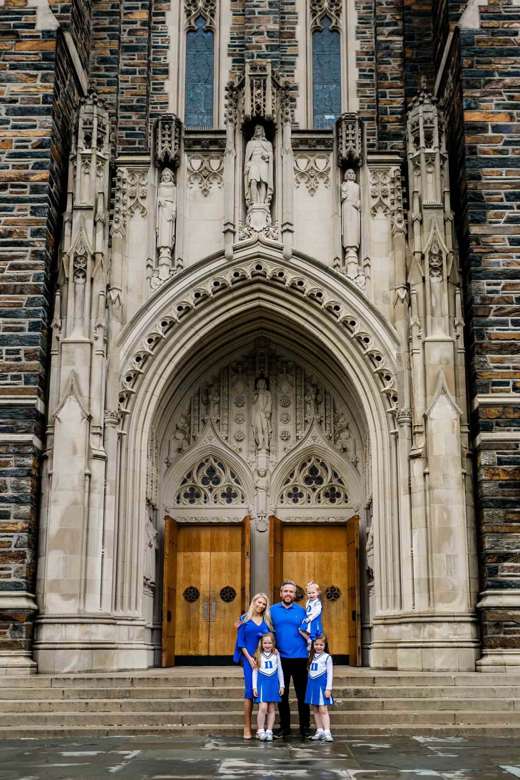 Family photography session at Duke Chapel | Family wearing Duke blue | Durham Photographer | By G. Lin Photography