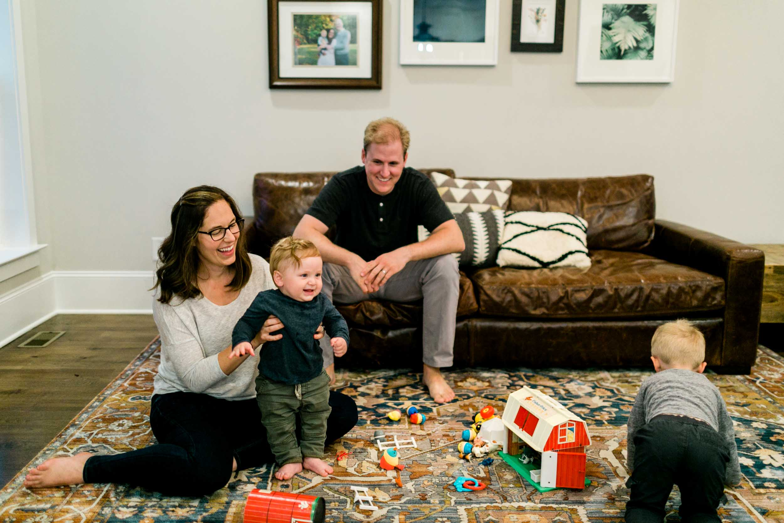 Family and children playing together at home | Raleigh Family Photographer | By G. Lin Photography