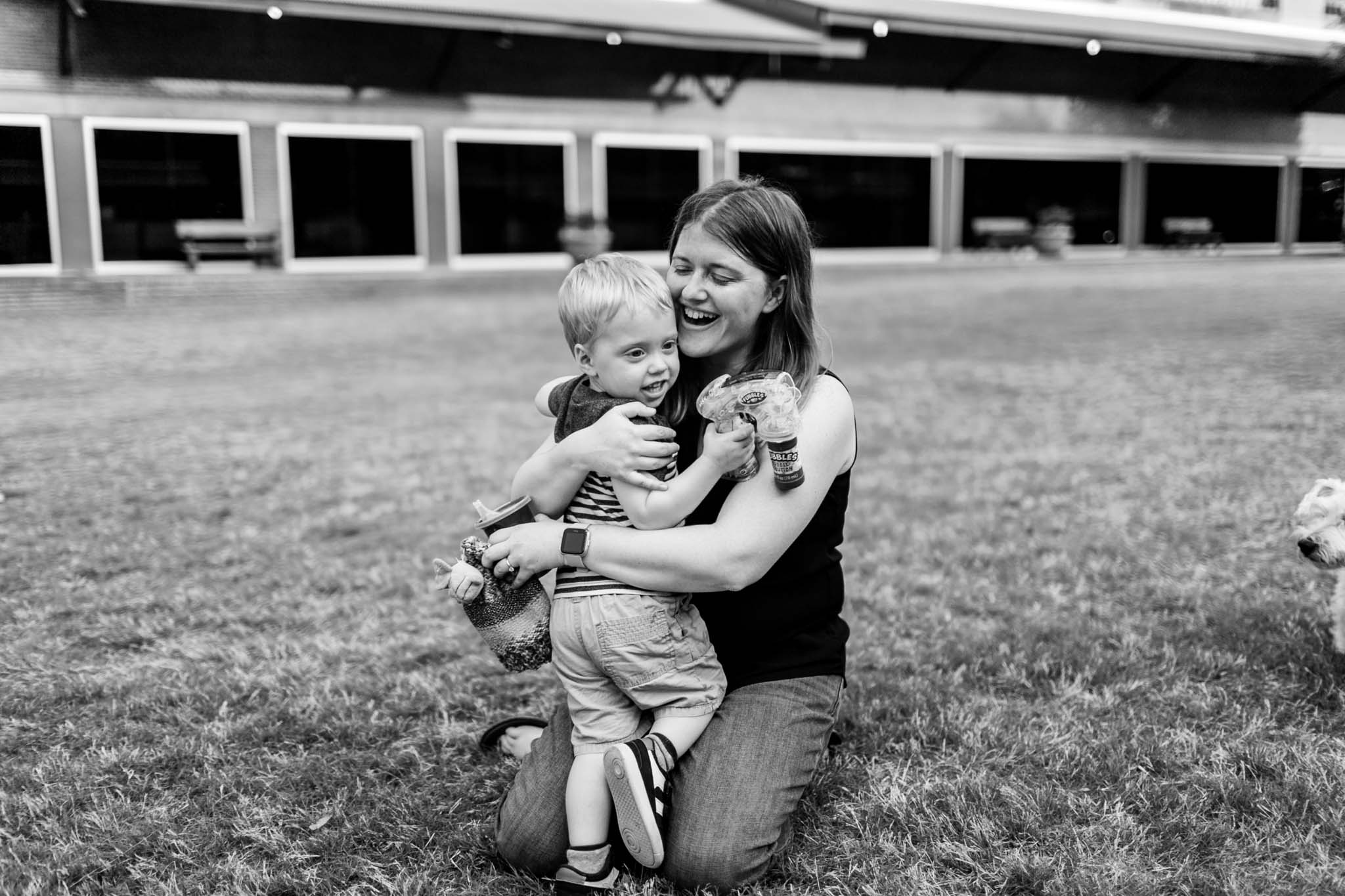 Durham Photographer | Mom hugging son | By G. Lin Photography