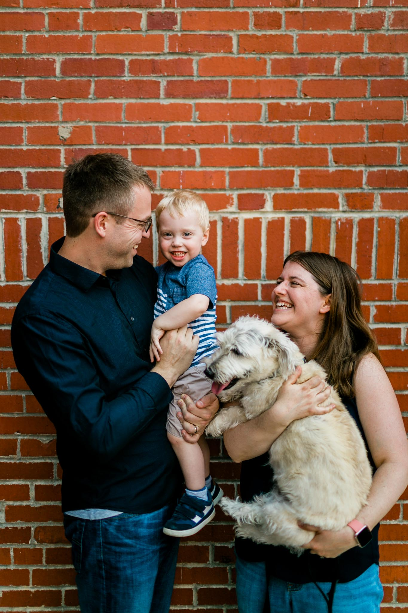 Durham Family Photographer | By G. Lin Photography | Family laughing together at Tobacco Campus