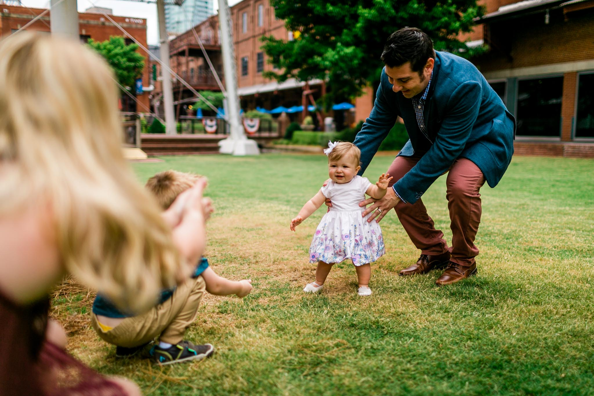 Durham Family Photographer | By G. Lin Photography | Baby girl taking first steps