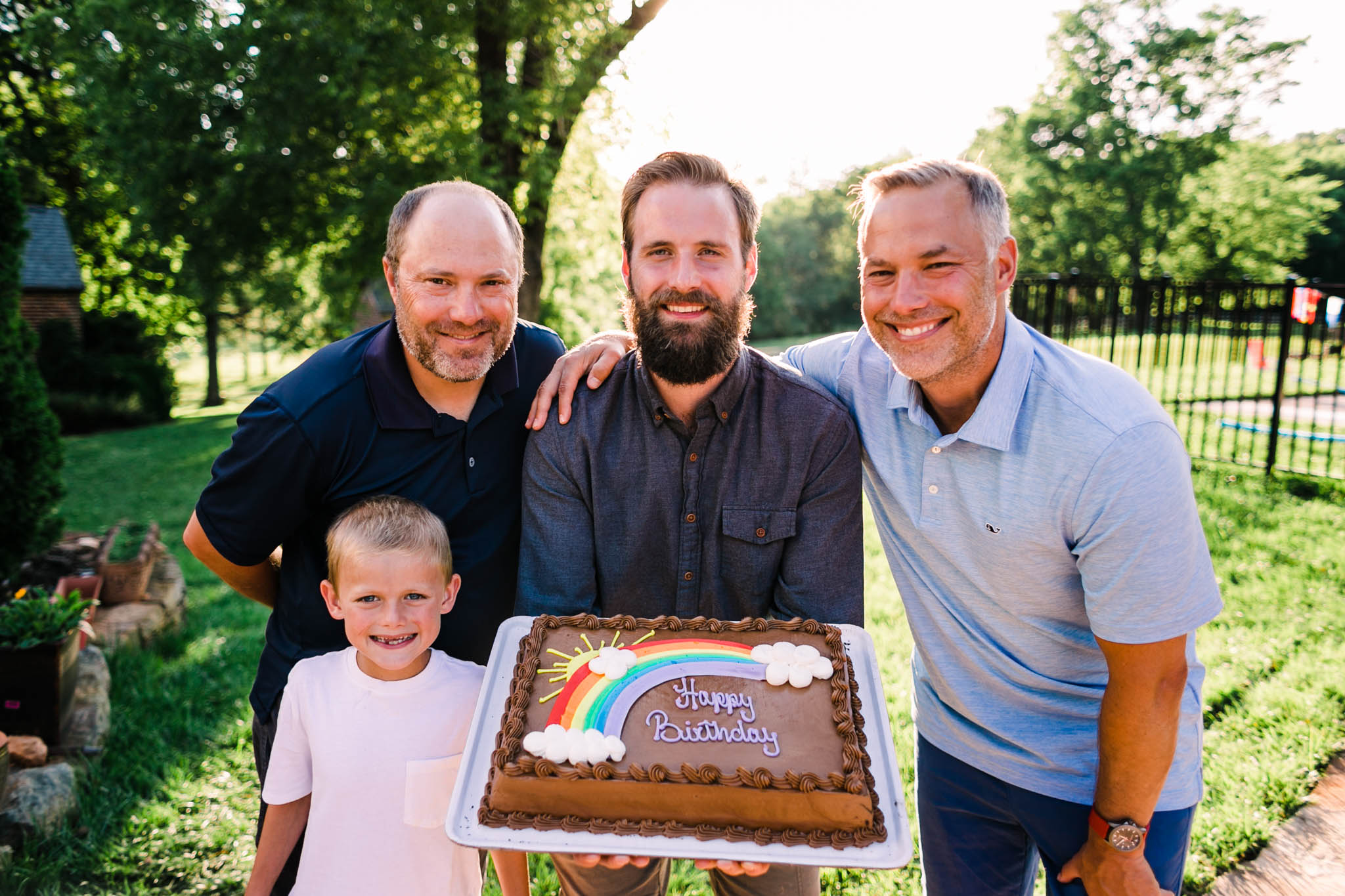 Durham Family Photographer | By G. Lin Photography | Portrait of brothers and son with birthday cake